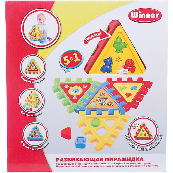 Winner Пирамидка, электроннаяРазвивающие игрушки<br>Развивающая электронная игрушка с звуковыми эффектами для самых маленьких. Стимулирует творческие способности, игровые навыки и воображение у детей любого возраста, а также способствует развитию мелкой моторики. <br>Собирается пирамидкой либо в виде коврика из 4х игровых панелей: сортер ( в форме круг, квадрат, треугольник), панель с озвучкой  животных (кнопочки корова, цыпленок, собака), панель с зеркальцами, панель с лабиринтом. <br><br>Дополнительная информация:<br><br>- В комплект входят: 4 игровые панели для сбора пирамидки, три формочки для сортера.<br>- Варианты сборки: в виде коврика либо пирамидки.<br>- Размер игрушки 22x26x26 см.<br><br> Игрушка развлечёт малыша и будет способствовать его обучению и развитию.<br><br>Ширина мм: 40<br>Глубина мм: 400<br>Высота мм: 580<br>Вес г: 950<br>Возраст от месяцев: 36<br>Возраст до месяцев: 108<br>Пол: Мужской<br>Возраст: Детский<br>SKU: 3261715