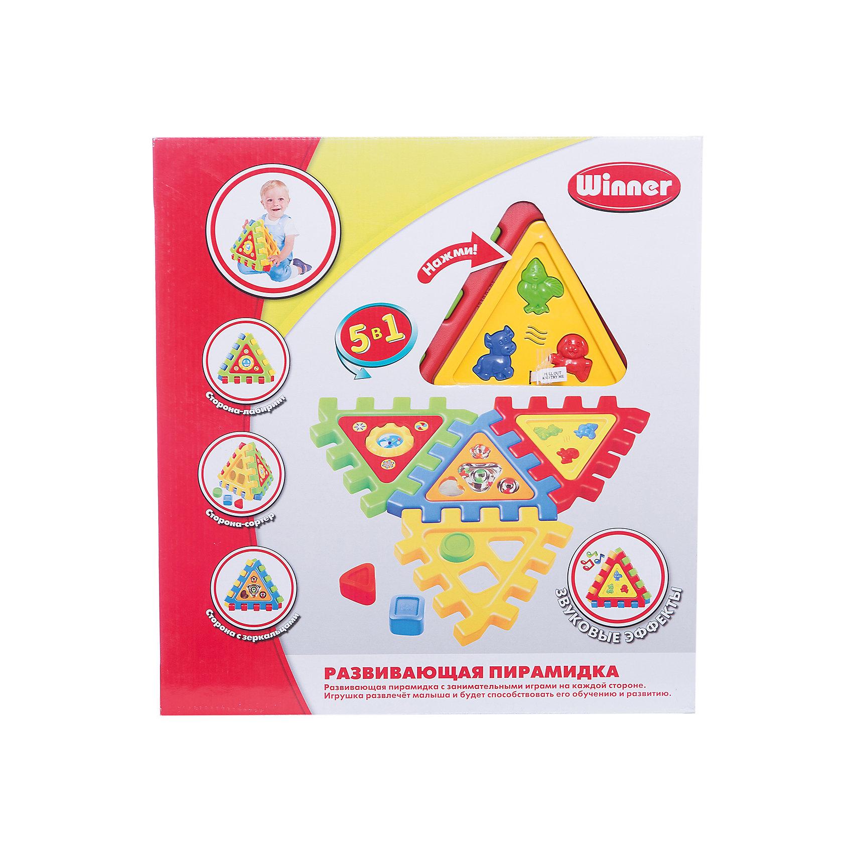 Winner Пирамидка, электроннаяРазвивающая электронная игрушка с звуковыми эффектами для самых маленьких. Стимулирует творческие способности, игровые навыки и воображение у детей любого возраста, а также способствует развитию мелкой моторики. <br>Собирается пирамидкой либо в виде коврика из 4х игровых панелей: сортер ( в форме круг, квадрат, треугольник), панель с озвучкой  животных (кнопочки корова, цыпленок, собака), панель с зеркальцами, панель с лабиринтом. <br><br>Дополнительная информация:<br><br>- В комплект входят: 4 игровые панели для сбора пирамидки, три формочки для сортера.<br>- Варианты сборки: в виде коврика либо пирамидки.<br>- Размер игрушки 22x26x26 см.<br><br> Игрушка развлечёт малыша и будет способствовать его обучению и развитию.<br><br>Ширина мм: 40<br>Глубина мм: 400<br>Высота мм: 580<br>Вес г: 950<br>Возраст от месяцев: 36<br>Возраст до месяцев: 108<br>Пол: Мужской<br>Возраст: Детский<br>SKU: 3261715