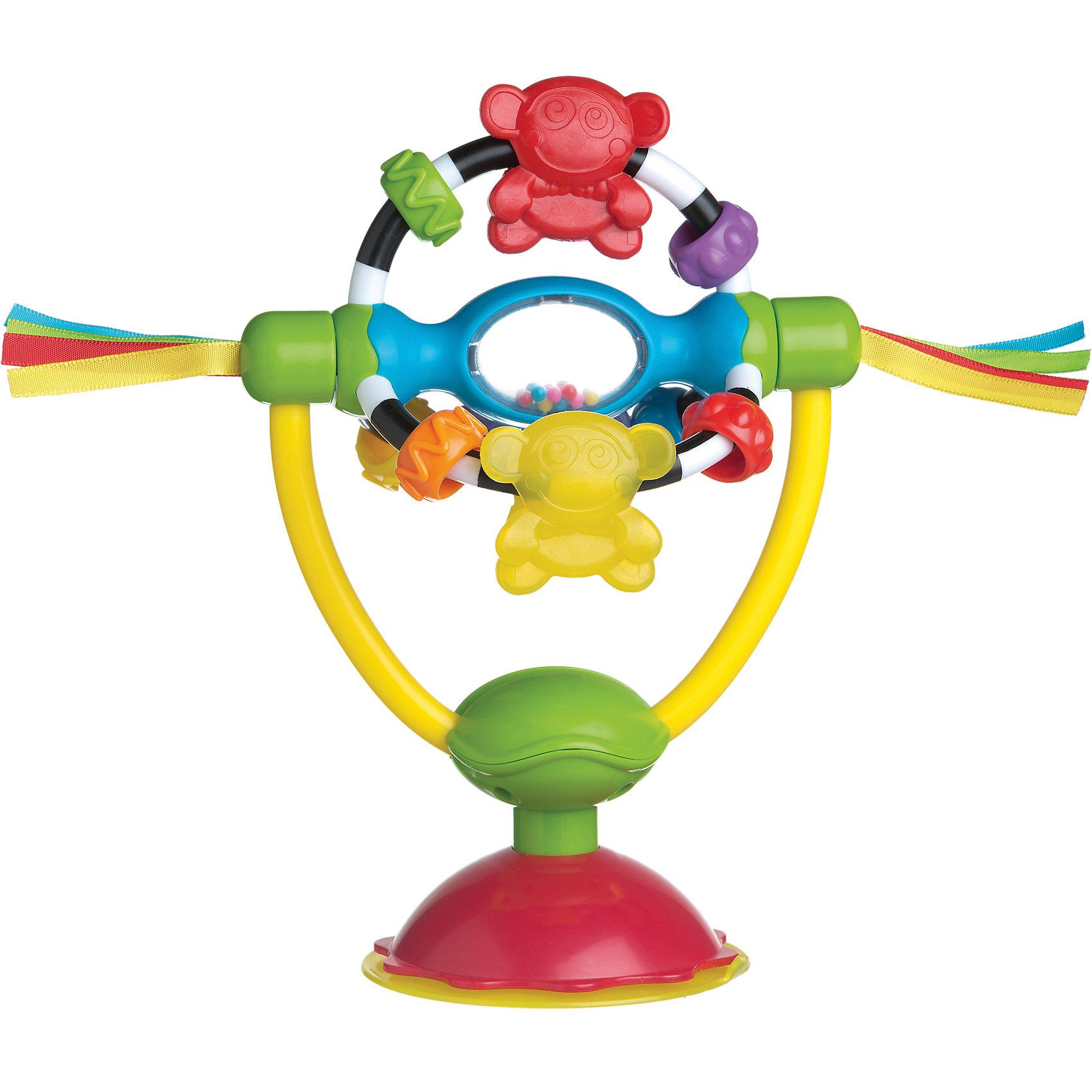 Игрушка развивающая на присоске, PlaygroЯркая разноцветная развивающая игрушка на присоске от Playgro (Плейгро)обязательно привлечет внимание вашего малыша.<br>В этой замечательной игрушке нет острых краев и мелких деталей. С помощью присоски она легко крепится на любую поверхность: на стульчик для кормления, на ходунки, на кафель в ванной. Игровая часть при желании отсоединяется от основания. 3 дуги крутятся вокруг своей оси, на каждой из которой расположены подвижные элементы: мишки и две разноцветные бусины. В центре игровой части прозрачный цилиндр с гремящими шариками внутри, а по краям разноцветные атласные ленточки. Игрушку можно использовать как прорезыватель. Она изготовлена из безопасных для здоровья ребенка, экологически чистых материалов. Игрушка поможет малышу развить мелкую моторику рук, зрительное и слуховое восприятие, тактильные ощущения и координацию движений.<br><br>Дополнительная информация:<br><br>- Материал: текстиль, высококачественная пластмасса<br>- Диаметр присоски: 8.5 см.<br>- Высота с присоской: 20 см, без - 14 см.<br><br>Игрушку развивающую на присоске Playgro (Плейгро) можно купить в нашем интернет-магазине.<br><br>Ширина мм: 260<br>Глубина мм: 182<br>Высота мм: 93<br>Вес г: 198<br>Цвет: разноцветный<br>Возраст от месяцев: 0<br>Возраст до месяцев: 12<br>Пол: Унисекс<br>Возраст: Детский<br>SKU: 3271399