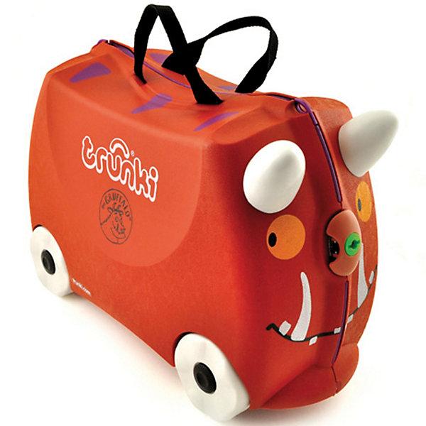 Чемодан на колесиках ГраффалоДорожные сумки и чемоданы<br>Вместительный, удобный чемодан Граффало (Gruffalo) - замечательный вариант для маленьких путешественников. Оригинальный чемодан выполнен из прочного пластика в виде популярного английского сказочного персонажа - лесного зверя Груффало с рожками и носиком-замком.<br>Размеры позволяют брать его в самолет как ручную кладь. Чемоданчик может использоваться как детский стульчик и как оригинальное средство передвижения. Благодаря надежным колесикам, удобной конструкции седла и стабилизаторам малыш ездит на чемодане как на каталке, отталкиваясь ножками и держась за рожки. <br><br>Чемодан оснащен удобными ручками для переноски и надежным замком. С помощью ручного буксировочного ремня Груффало можно везти по полу или нести на плече. Внутри одно просторное отделение для одежды и дорожных принадлежностей с ремнями для фиксации одежды, а также потайные секретные отсеки для мелочей. Все детали выполнены из экологически чистых, безопасных для детского здоровья материалов. Собственный чемодан для путешествий позволит ребенку почувствовать себя взрослым и самостоятельным.<br><br>Дополнительная информация:<br><br>- Материал: высококачественный пластик.<br>- Объем: 18 л.<br>- Максимальная нагрузка: 45 кг.<br>- Кол-во колес: 4 колеса.<br>- Размер чемодана: 46 х 20,5 х 31 см.<br>- Вес: 1,7 кг.<br><br>Чемодан на колесиках Граффало, Trunki, можно купить в нашем интернет-магазине.<br>Ширина мм: 453; Глубина мм: 355; Высота мм: 223; Вес г: 2159; Возраст от месяцев: 72; Возраст до месяцев: 84; Пол: Унисекс; Возраст: Детский; SKU: 3283082;