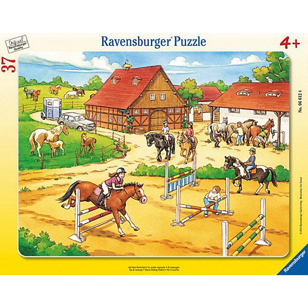 Пазл «Верховая езда», 37 деталей, RavensburgerПазлы для малышей<br>Пазл Верховая езда - это прекрасная возможность для развития вашего ребёнка.  Собирая пазл, ребёнок не найдет одинаковых деталей, что обеспечено использованием вручную изготовленного инструментария. Части идеально соединяются и не ломаются, отчего ребёнок сможет воссоздать картинку самостоятельно. Так же изделие абсолютно безопасно для вашего малыша, так как изготовлено из экологического сырья. Пазл развивает мелкую моторику рук, сообразительность, усидчивость и память. Приобрести его можно в нашем интернет- магазине.<br>В товар входит:<br>-37 деталей<br><br>Дополнительная информация<br>-Размер картинки – 32,5*24,5 см <br>-Размер упаковки – 38*30 см<br>-Возраст: от 3 лет<br>-Для мальчиков и девочек<br>-Состав: картон, бумага<br>-Бренд: Ravensburger (Равенсбургер)<br>-Страна обладатель бренда: Германия<br><br>Ширина мм: 375<br>Глубина мм: 294<br>Высота мм: 7<br>Вес г: 305<br>Возраст от месяцев: 48<br>Возраст до месяцев: 72<br>Пол: Женский<br>Возраст: Детский<br>Количество деталей: 37<br>SKU: 3284564