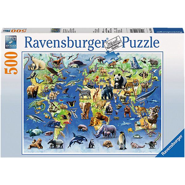 Пазл Животные из красной книги Ravensburger, 500 деталейПазлы классические<br>Пазл с рамкой Животные из красной книги Ravensburger (Равенсбургер), 500 деталей с изображением животных, живущих на разных континентах планеты станет прекрасным подарком для юных исследователей флоры и фауны. Он наглядно познакомит детей с множеством обитателей планеты. Пазл состоит из 500-т деталей, в комплект которых входит рамка. Теперь Вам не придётся задумываться об оформлении готовой работы, потому как компания выпустила новую серию пазлов, в которой картонная коробка преобразовывается в рамку для пазлов. Дизайн рамки выполнен в стиле картинки пазлов. Детали пазла от Ravensburger, изготовлены из прочного и качественного картона, который приятно держать в руках, а в процессе сборки, элементы не расслаиваются и не деформируются. Высокое качество полиграфии передает всю красоту морской жизни в естественных великолепных тонах. Вы получите массу положительных эмоций от процесса сборки и готового результата, которое займет почетное место в Вашем доме. <br><br>Дополнительная информация:<br><br>- Набор состоит из 500 фрагментов и рамки;<br>- Наглядное изучение обитателей планеты, стоящих на грани исчезновения;<br>- Яркая картинка, привлекающая внимание;<br>- Размер пазла : 49 х 36 см;<br>- Материал: картон;<br>- Вес: 990 г.<br><br>Пазл с рамкой Животные из красной книги Ravensburger (Равенсбургер), 500 деталей можно купить в нашем интернет-магазине.<br>Ширина мм: 339; Глубина мм: 233; Высота мм: 39; Вес г: 518; Возраст от месяцев: 144; Возраст до месяцев: 228; Пол: Унисекс; Возраст: Детский; Количество деталей: 500; SKU: 3284581;