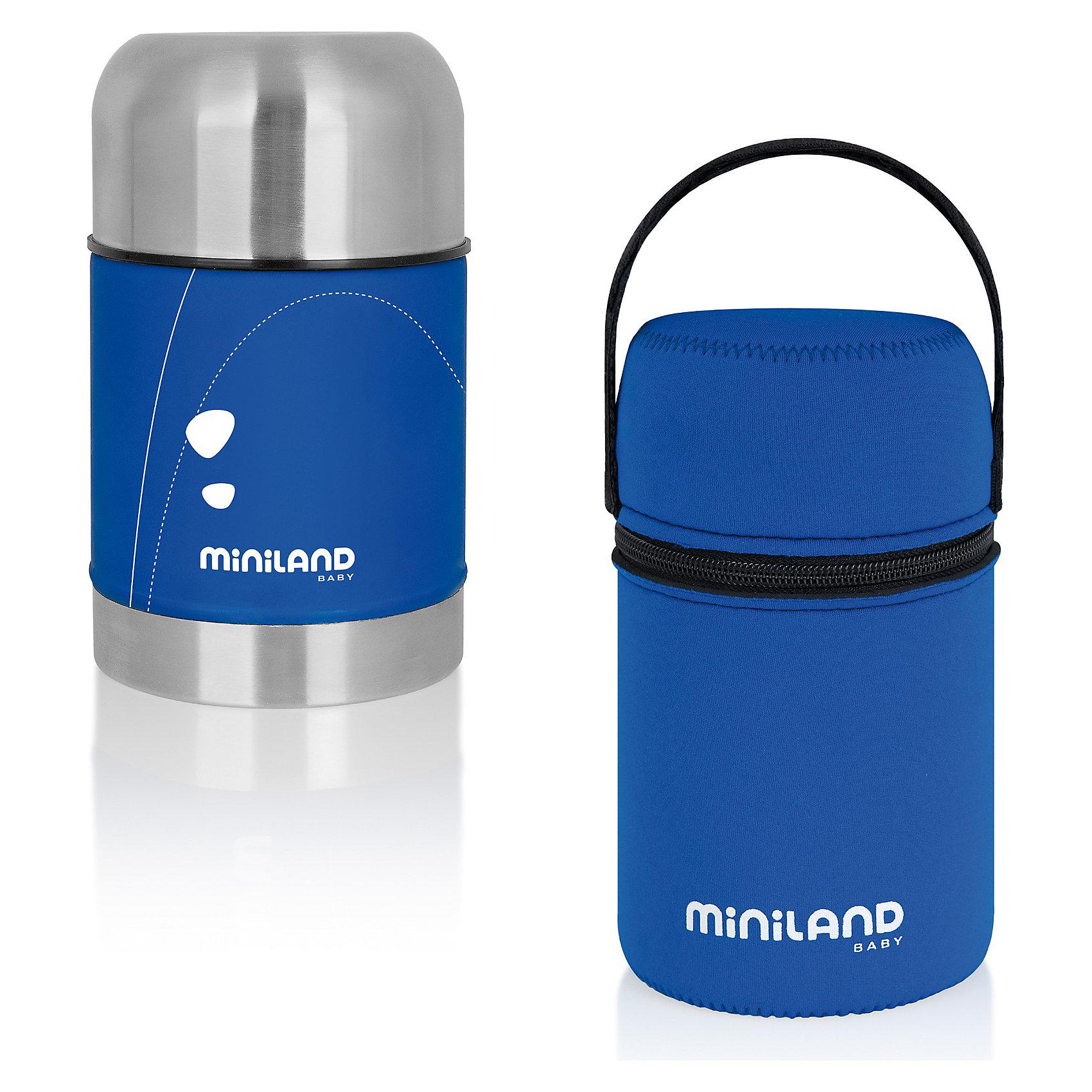 Термос для еды в сумке Miniland SOFT THERMO FOOD 600 мл, синийТермосумки и термосы<br>Детский термос для жидкой и твердой пищи от компании Miniland имеет мягкую прорезиненную, очень приятную на ощупь поверхность. Каркас термоса и крышка сделаны из нержавеющей стали, устойчивой к падениям и ударам, легко моются. Термос поддерживает температуру пищи в течение длительного периода времени. Закрывается при помощи плотно завинчивающейся крышки и колпачка, который можно использовать в качестве посуды для кормления. Термос компактный и легкий, в комплекте с удобной сумкой для транспортировки, которая помогает дольше сохранить тепло. С помощью липучки ее можно пристегнуть к коляске или сумке. Прекрасный вариант для поездок и путешествий. <br><br>Дополнительная информация:<br><br>-  Объем: 600 мл.<br>- Материал: нержавеющая сталь, резина, пластик, текстиль.<br>- Цвет: синий.<br>- Высота термоса: 17,5 см.<br>- Комплектация: термос, сумка. <br> <br>Термос для еды в сумке Miniland SOFT THERMO FOOD 600 мл, синий, можно купить в нашем магазине.<br><br>Ширина мм: 201<br>Глубина мм: 116<br>Высота мм: 114<br>Вес г: 615<br>Возраст от месяцев: 0<br>Возраст до месяцев: 23<br>Пол: Унисекс<br>Возраст: Детский<br>SKU: 3288448