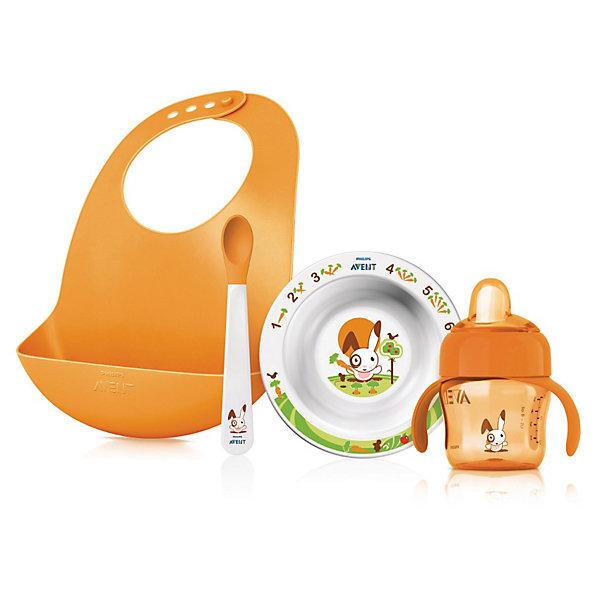 Подарочный набор для кормления SCF730/00, AVENTДетская посуда<br>Подарочный набор для кормления SCF730/00 от Philips AVENT (Авент) - все, что нужно для кормления Вашего малыша!<br><br>Полный комплект для всех этапов развития малыша!<br><br>- Специальный кармашек на нагруднике собирает все крошки и упавшие кусочки<br>- Нескользящие ручки — чашку удобно держать, не боясь, что она соскользнет<br>- Мягкий носик для простого перехода от груди или бутылочки к чашке<br>- Клапан против проливания — идеально для дома и поездок<br>- Защелкивающийся колпачок для гигиеничности<br>- Нескользящее основание предотвращает проливание<br>- Мягкие края ложки не ранят десны малыша<br><br>В комплект входят:<br>• Нагрудник: 1 шт.<br>• Маленькая тарелка: 1 шт.<br>• Ложка: 1 шт.<br>• Чашка с носиком 200 мл: 1 шт.<br><br>Дополнительная информация:<br><br>- Без бисфенола-А<br>- Подходит для микроволновой печи (без столовых приборов)<br><br>Ширина мм: 89<br>Глубина мм: 224<br>Высота мм: 296<br>Вес г: 3432<br>Возраст от месяцев: 0<br>Возраст до месяцев: 36<br>Пол: Унисекс<br>Возраст: Детский<br>SKU: 3288981