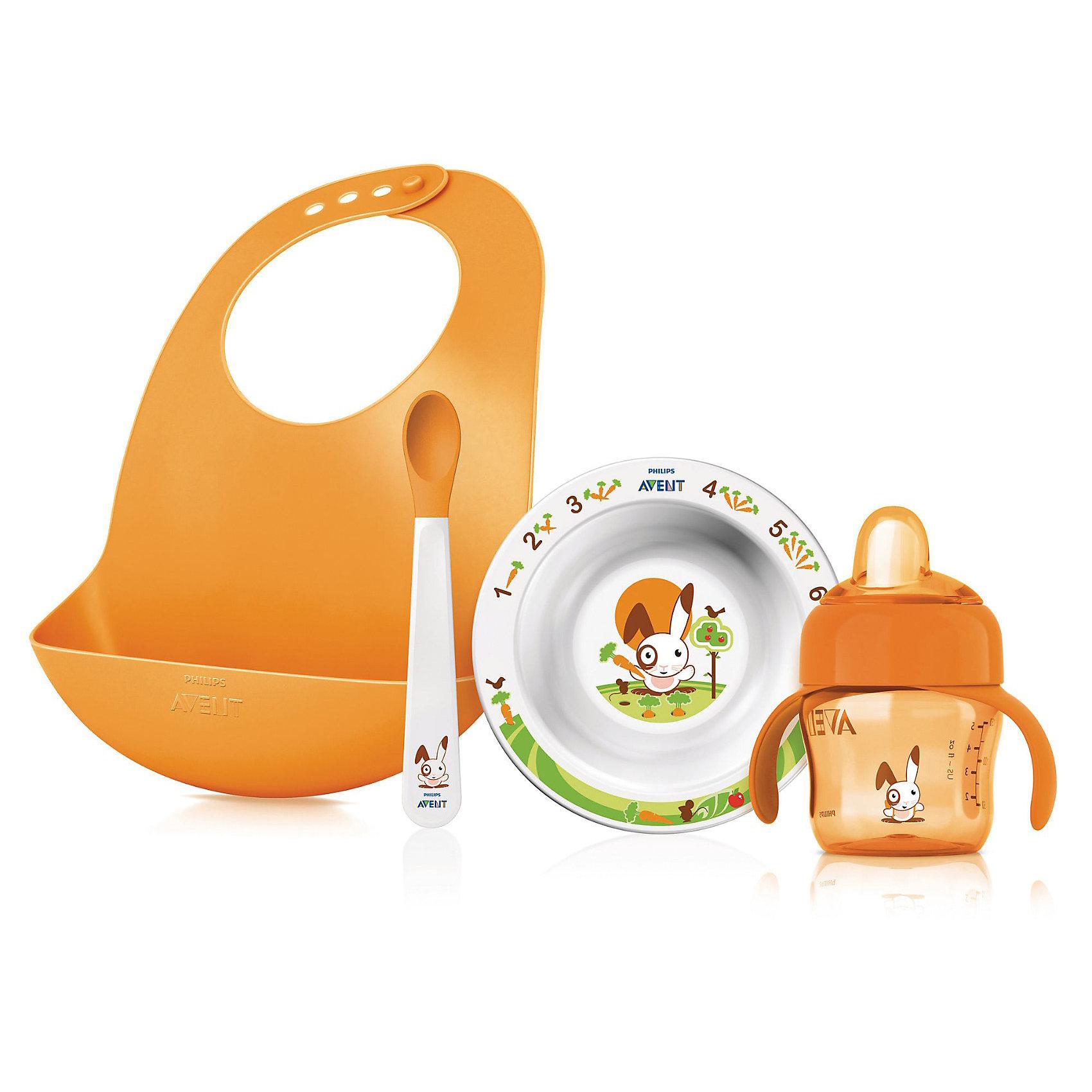 Подарочный набор для кормления SCF730/00, AVENTПосуда для малышей<br>Подарочный набор для кормления SCF730/00 от Philips AVENT (Авент) - все, что нужно для кормления Вашего малыша!<br><br>Полный комплект для всех этапов развития малыша!<br><br>- Специальный кармашек на нагруднике собирает все крошки и упавшие кусочки<br>- Нескользящие ручки — чашку удобно держать, не боясь, что она соскользнет<br>- Мягкий носик для простого перехода от груди или бутылочки к чашке<br>- Клапан против проливания — идеально для дома и поездок<br>- Защелкивающийся колпачок для гигиеничности<br>- Нескользящее основание предотвращает проливание<br>- Мягкие края ложки не ранят десны малыша<br><br>В комплект входят:<br>• Нагрудник: 1 шт.<br>• Маленькая тарелка: 1 шт.<br>• Ложка: 1 шт.<br>• Чашка с носиком 200 мл: 1 шт.<br><br>Дополнительная информация:<br><br>- Без бисфенола-А<br>- Подходит для микроволновой печи (без столовых приборов)<br><br>Ширина мм: 89<br>Глубина мм: 224<br>Высота мм: 296<br>Вес г: 3432<br>Возраст от месяцев: 0<br>Возраст до месяцев: 36<br>Пол: Унисекс<br>Возраст: Детский<br>SKU: 3288981