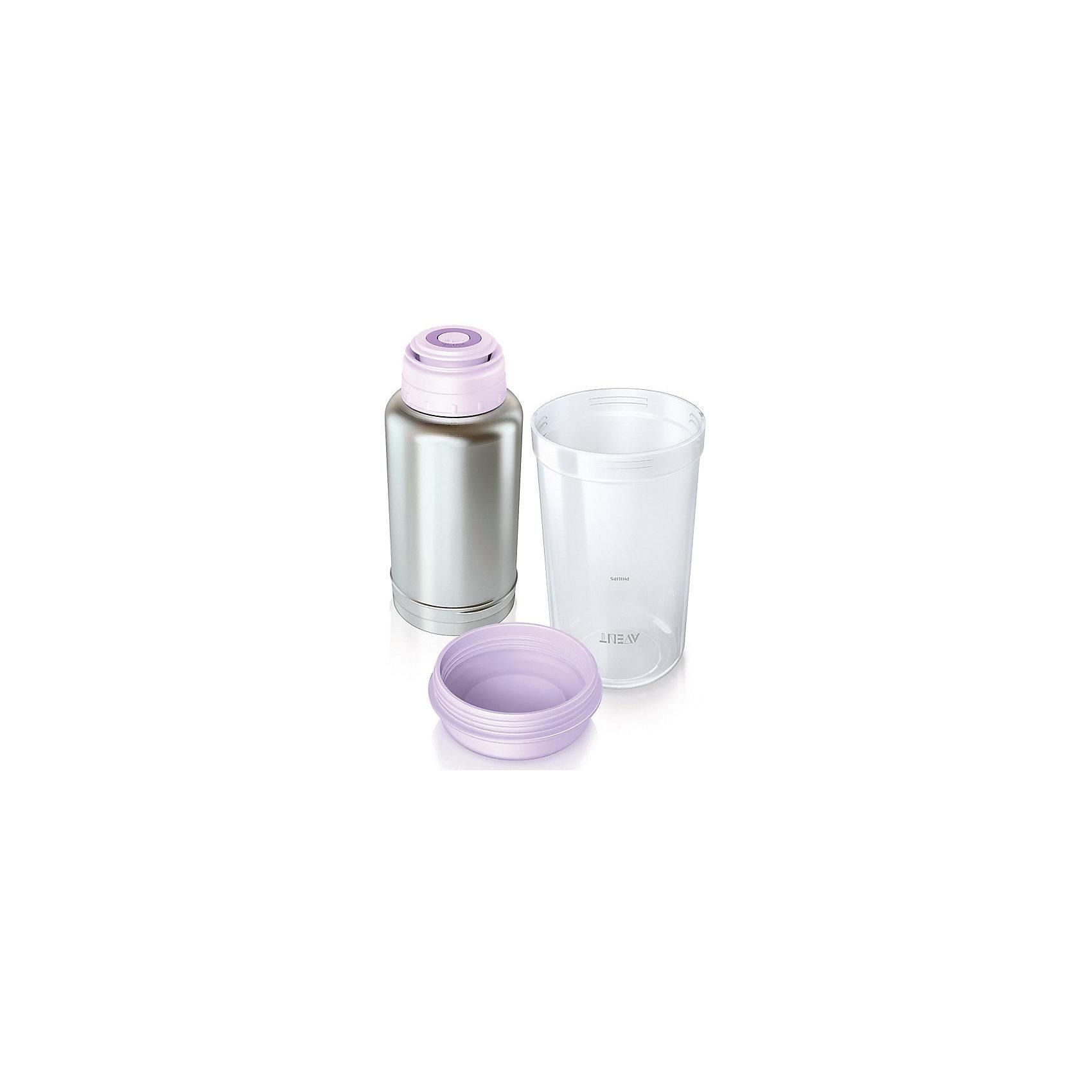 Подогреватель бутылочек с термосом, неэлектрический, AVENTС подогревателем бутылочек SCF256/00 от Philips AVENT (Авент) Вы можете подогревать бутылочки в любое время в любом месте.<br><br>- Удобная крышка с клапаном (Конструкция крышки позволяет легко понять, когда она открыта или закрыта, а также обеспечивает удобство очистки.)<br>- Защитная крышка (Закройте стакан уникальной защитной крышкой, чтобы обеспечить быстрое и безопасное подогревание.)<br>- Быстрый подогрев питания (Подогреватель бутылочек с термосом Philips AVENT (Авент) настолько хорошо сохраняет высокую температуру воды, что даже через несколько часов 180-мл бутылочку с питанием можно подогреть за 2,5 минуты.)<br>- Инструкция по подогреву (На стакан нанесена инструкция с информацией о длительности подогрева (в зависимости от температуры молока) для бутылочек Philips AVENT (Авент) всех размеров.)<br>- Подогревает различную пищу (Подогрев нескольких бутылочек в горячей воде одного термоса (500 мл)<br><br>Дополнительная информация:<br><br>- Размеры потребительской упаковки: 105х105х207 мм<br>- Габариты изделия: 200x?104,36 мм<br>- Материал: нержавеющая сталь (термос), PP (стакан и защитная крышка), PP/ABS (крышка с клапаном)<br><br>Ширина мм: 106<br>Глубина мм: 106<br>Высота мм: 210<br>Вес г: 2716<br>Возраст от месяцев: 0<br>Возраст до месяцев: 24<br>Пол: Унисекс<br>Возраст: Детский<br>SKU: 3288983