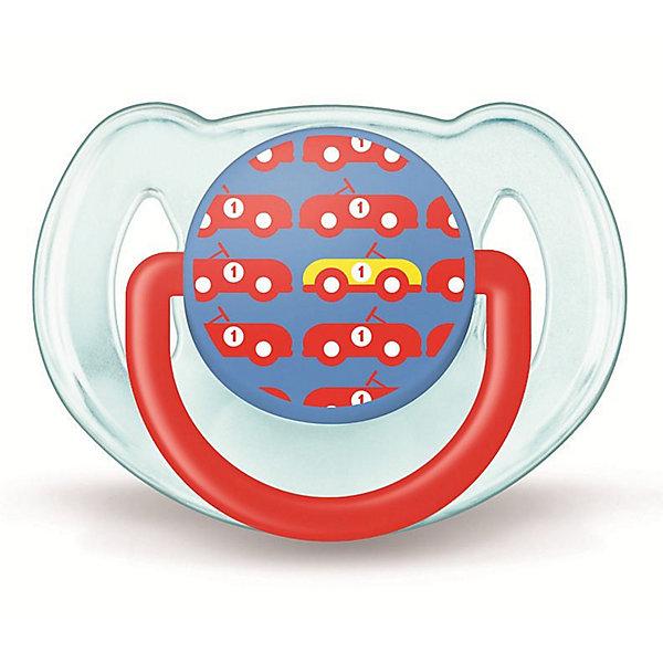 Пустышка Дизайн для мальчика, 6-18 мес., 1 шт., AVENTСиликоновые пустышки<br>Плоские симметричные соски пустышек Philips AVENT (Авент) каплевидной формы учитывают строение и естественное развитие неба, зубов и десен малыша и гарантируют комфорт, даже если пустышка переворачивается во рту.<br><br>Силиконовые соски пустышек Philips AVENT (Авент) не обладают вкусом и запахом, что делает их наиболее приемлемыми для малыша. Силикон — это мягкий и прозрачный материал, который не липнет и легко моется. Такая соска прочна и прослужит долго, не потеряв со временем форму и цвет.<br><br>Дополнительная информация:<br><br>Ортодонтическая, симметричная съемная соска<br>Можно стерилизовать<br>Можно мыть в посудомоечной машине<br>Предохранительное кольцо-держатель (Позволяет с легкостью вынуть пустышку Philips AVENT (Авент) в любой момент.)<br>Без запаха и вкуса<br>Без бисфенола-А<br><br>В комплекте:<br><br>Силиконовая соска: 1 шт.<br>Защелкивающийся защитный колпачок: 1 шт.<br><br>Ширина мм: 48<br>Глубина мм: 103<br>Высота мм: 115<br>Вес г: 728<br>Возраст от месяцев: 6<br>Возраст до месяцев: 18<br>Пол: Мужской<br>Возраст: Детский<br>SKU: 3288986