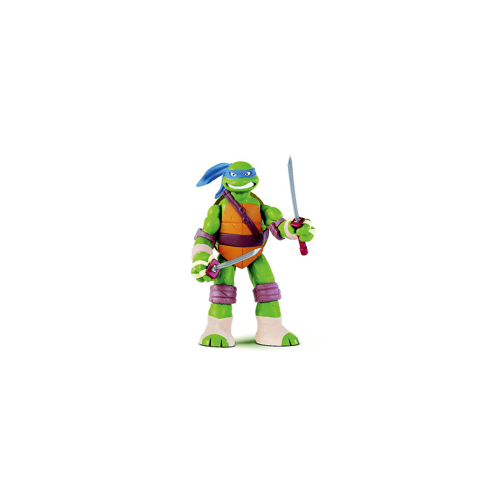 Фигурка Леонардо, 28 см, Черепашки НиндзяФигурки героев<br>Самая большая фигурка серии Черепашки-Ниндзя (Ninja Turtles). <br>У Леонардо открывается панцирь и в него можно складывать оружие и аксессуары. <br>В комплекте по мимо аутентичного оружия есть также дополнительное оружие для каждого героя и метательные звездочки -сюрикены.<br> <br>Размер упаковки: 35*53*27 см<br><br>Ширина мм: 255<br>Глубина мм: 310<br>Высота мм: 125<br>Вес г: 1073<br>Возраст от месяцев: 48<br>Возраст до месяцев: 132<br>Пол: Мужской<br>Возраст: Детский<br>SKU: 3288999
