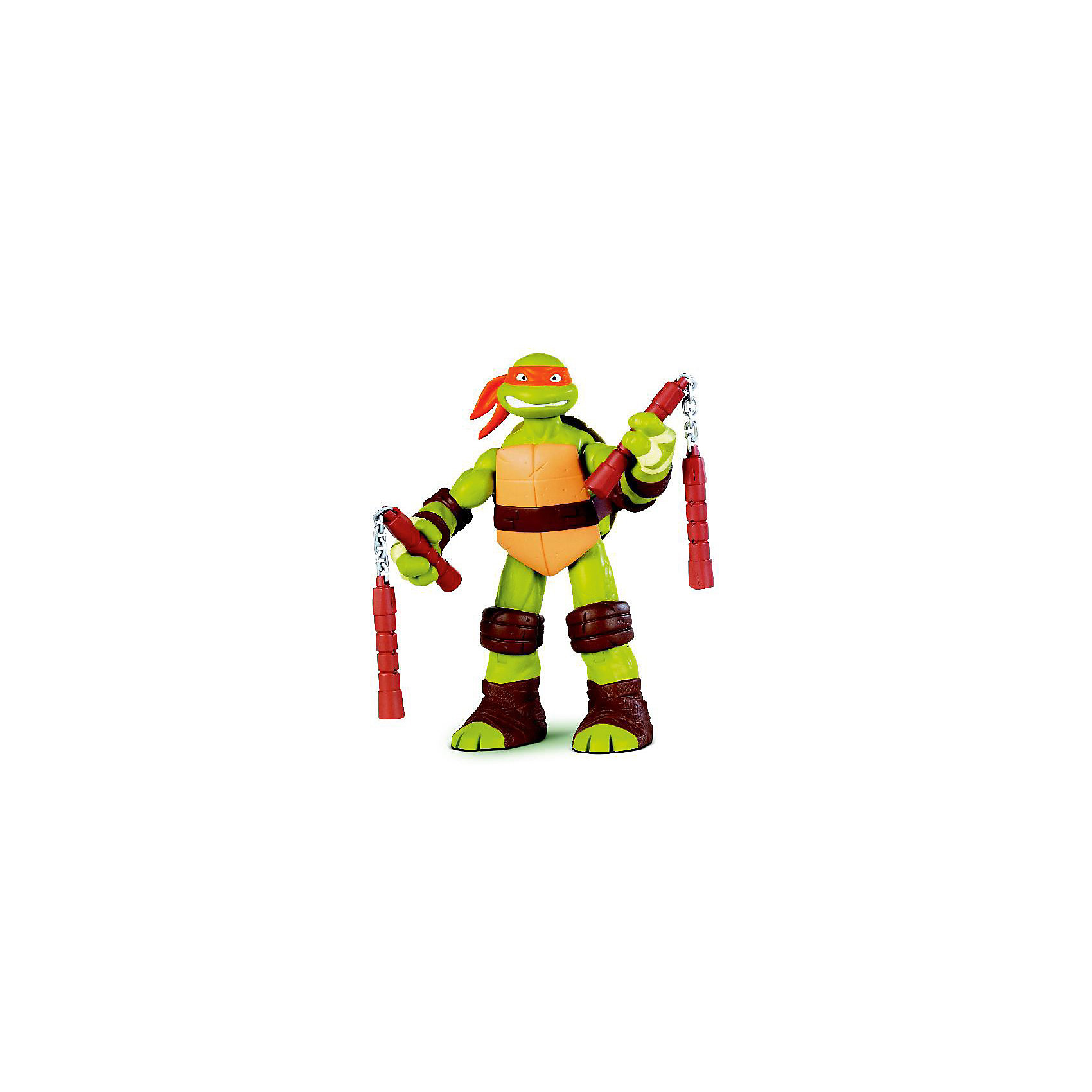 Фигурка Микеланджело, 28 см, Черепашки НиндзяФигурки героев<br>Самая большая фигурка серии Черепашки-Ниндзя (Ninja Turtles). <br>У Микельанджело открывается панцирь и в него можно складывать оружие и аксессуары. <br>В комплекте по мимо аутентичного оружия есть также дополнительное оружие для каждого героя и метательные звездочки -сюрикены.<br> <br>Размер упаковки: 35*53*27 см<br><br>Ширина мм: 255<br>Глубина мм: 310<br>Высота мм: 125<br>Вес г: 1076<br>Возраст от месяцев: 48<br>Возраст до месяцев: 132<br>Пол: Мужской<br>Возраст: Детский<br>SKU: 3289002