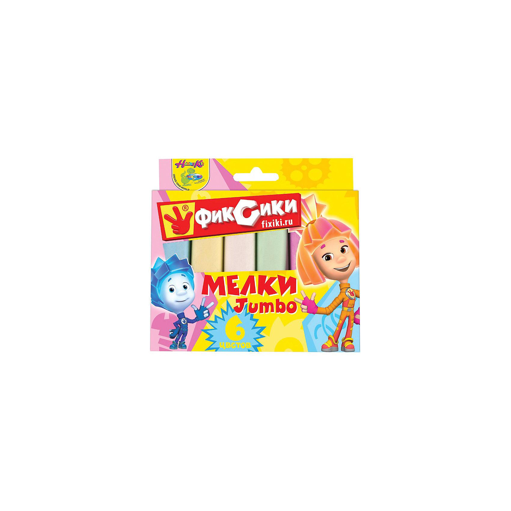 Мелки цветные для асфальта 6 цветов, ФиксикиМелки цветные для асфальта, Фиксики замечательно подойдут для рисования на асфальте и различных поверхностях. Мелки имеют утолщенную форму и очень удобны для маленьких детских ручек! Подойдут для самых маленьких любителей творчества.<br><br>Дополнительная информация:<br><br>В наборе: 6 цветов.<br><br>Станет прекрасным развивающим подарком любому маленькому ребенку!<br><br>Ширина мм: 24<br>Глубина мм: 125<br>Высота мм: 135<br>Вес г: 240<br>Возраст от месяцев: 36<br>Возраст до месяцев: 156<br>Пол: Унисекс<br>Возраст: Детский<br>SKU: 3289536