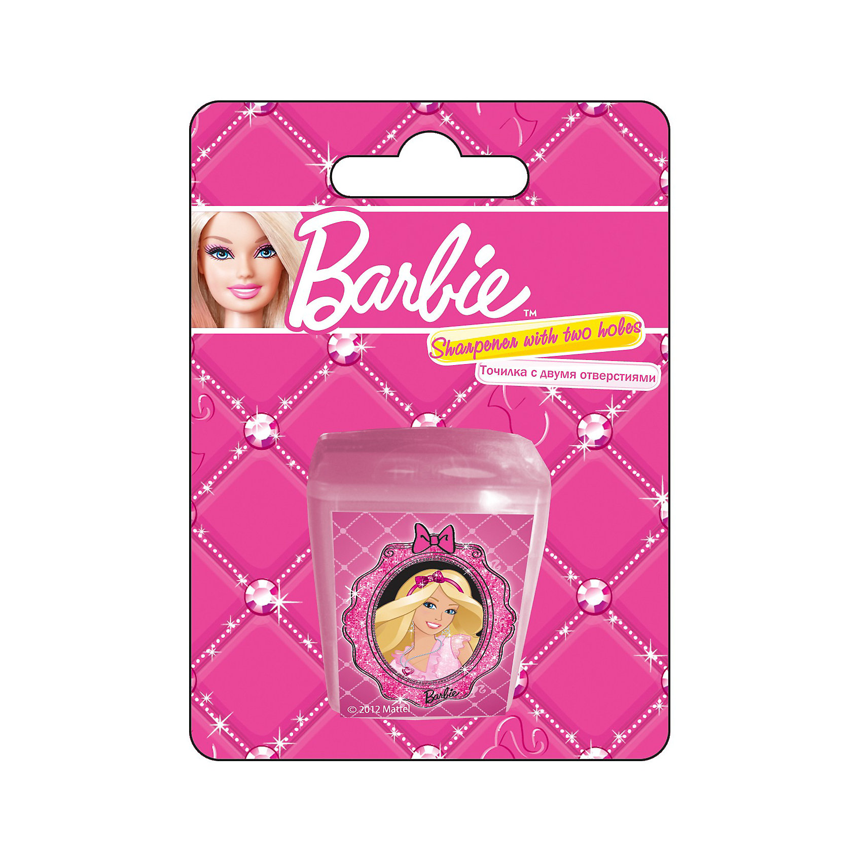 Barbie Точилка с двумя отверстиямиBarbie<br>Точилка с двумя отверстиями, 1шт с изображением Barbie (Барби) станет прекрасным помощником Вашей девочки в школе!<br><br>Дополнительная информация:<br><br>Печать на корпусе - полноцветная. <br>Размер 11х 8 х 2,5.<br><br>Карандаши Вашей девочки всегда будут готовы к работе!<br><br>Ширина мм: 110<br>Глубина мм: 80<br>Высота мм: 25<br>Вес г: 20<br>Возраст от месяцев: 96<br>Возраст до месяцев: 168<br>Пол: Женский<br>Возраст: Детский<br>SKU: 3291565