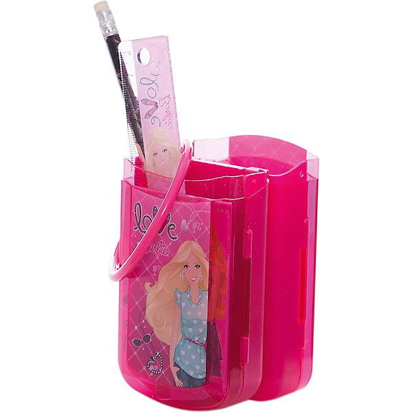 Barbie Набор канцелярский: карандаш с ластиком, пенал, линейка, ручкаШкольные аксессуары<br>Набор канцелярский с изображением Barbie (Барби) станет прекрасным помощником Вашей девочки в школе!<br><br>Дополнительная информация:<br><br>В наборе: карандаш чернографитный с ластиком, пенал пластиковый складной, линейка прозрачная 15 см, ручка автоматическая Barbie (Барби).<br><br>Станет прекрасным подарком любой первокласснице!<br><br>Ширина мм: 220<br>Глубина мм: 75<br>Высота мм: 60<br>Вес г: 143<br>Возраст от месяцев: 96<br>Возраст до месяцев: 168<br>Пол: Женский<br>Возраст: Детский<br>SKU: 3291572