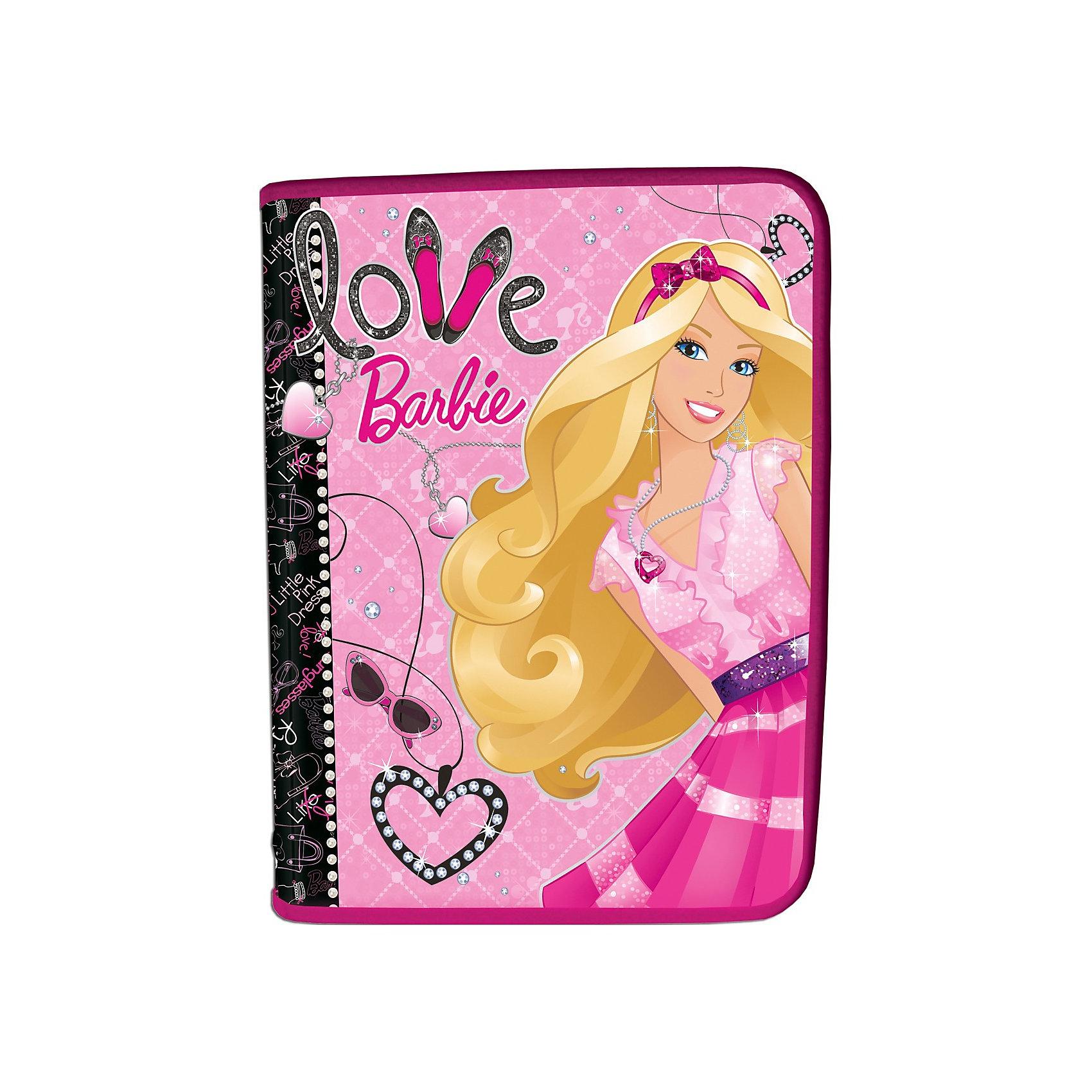 Папка для тетрадей А5, на молнии, BarbieПапка для тетрадей с изображением Barbie (Барби) станет прекрасной помощницей Вашей девочки в школе!<br><br>Дополнительная информация:<br>Размеры: для тетрадей формата А5, молния с 3-х сторон. <br>Толщина пластика: 0,5мм.  <br>Картон с матовой ламинацией Barbie (Барби).<br><br>Станет прекрасным подарком любой моднице!<br><br>Ширина мм: 228<br>Глубина мм: 377<br>Высота мм: 10<br>Вес г: 58<br>Возраст от месяцев: 96<br>Возраст до месяцев: 168<br>Пол: Женский<br>Возраст: Детский<br>SKU: 3291575
