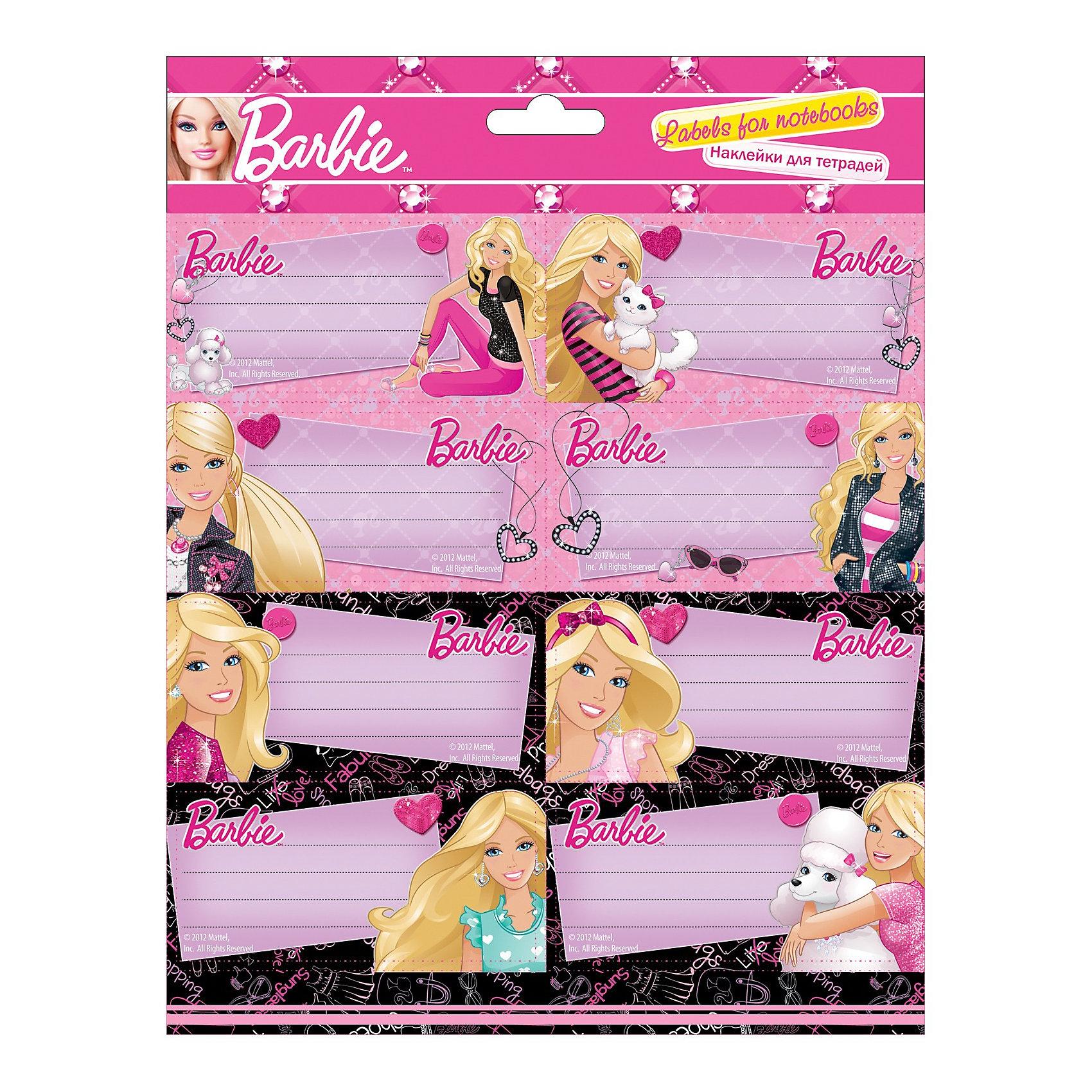 Barbie Наклейки для тетрадей, 77 x 39 мм, 2 листа по 8 шт.Наклейки для тетрадей с изображением Barbie (Барби) станет прекрасным помощником Вашей девочки в школе!<br><br>Дополнительная информация:<br><br>Размер: 77 x 39 мм, <br>2 листа по 8 шт. каждый, <br>картонная вкладка - 250 г/м2.<br><br>Станут приятными элементами украшения тетрадей и школьных папок!<br><br>Ширина мм: 770<br>Глубина мм: 390<br>Высота мм: 5<br>Вес г: 30<br>Возраст от месяцев: 96<br>Возраст до месяцев: 168<br>Пол: Женский<br>Возраст: Детский<br>SKU: 3291580