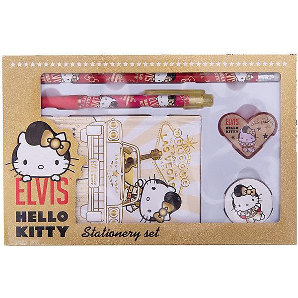 Hello Kitty Набор канцелярский: записная книжка, ручка, карандаш, в подарочной коробкеНаборы канцелярии<br>Набор канцелярский в подарочной коробке с вырубкой с изображением Hello Kitty  станет прекрасным помощником Вашей девочки в школе!<br><br>Дополнительная информация: <br><br>Твердый переплет,<br> ручка автоматическая, <br>карандаш чернографитный с ластиком, <br>Hello Kitty Elvis<br><br>Станет прекрасным подарком Вашей малышке!<br><br>Ширина мм: 220<br>Глубина мм: 140<br>Высота мм: 30<br>Вес г: 182<br>Возраст от месяцев: 96<br>Возраст до месяцев: 108<br>Пол: Женский<br>Возраст: Детский<br>SKU: 3291602