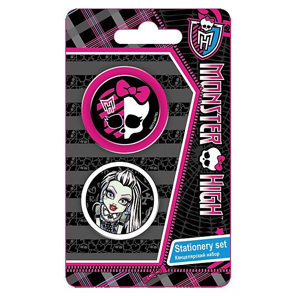 Набор канцелярский: точилка+ластик, Monster HighНаборы канцелярии<br>Набор канцелярский в блистере с изображением любимых героинь Monster High станет прекрасным помощником Вашей малышки в школе!<br><br>Дополнительная информация:<br><br>В наборе: точилка большая, ластик фигурный. <br>Размер 13,5 х 8 х 1,5 см.<br><br>Ширина мм: 135<br>Глубина мм: 80<br>Высота мм: 15<br>Вес г: 27<br>Возраст от месяцев: 120<br>Возраст до месяцев: 156<br>Пол: Женский<br>Возраст: Детский<br>SKU: 3291619