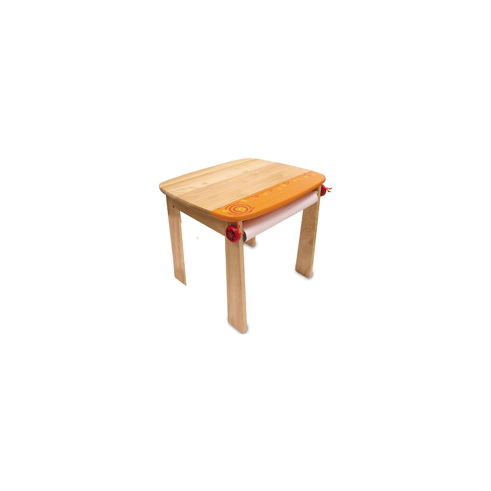 Стол для рисования с держателем для рулона бумаги и контейнером, Im Toy, оранжевыйМебель<br>Функциональный столик для рисования нейтральной и приятной для глаз кремово-оранжевой или кремово-синей расцветки предлагает компания I`m Toy для малышей. Стойкий стол изготовлен из самого безвредного материала для детей - древесины деревьев, которые растут в экологически-чистых районах юго-восточной Азии.<br><br>Дополнительная информация:<br><br>- безопасные закругленные углы;<br>- Размер стола (см): 60 х 52 х 54;<br>- открывающаяся столешница, под которой находится вместительный ящичек для хранения различных канцелярских принадлежностей;<br>- на одной из сторон стола под столешницей предусмотрена деревянная ось (бобина), которую с двух сторон придерживают две веселенькие божьи коровки, на эту ось можно прикреплять рулон бумаги;<br>- бумага в комплект не входит.<br><br>ВНИМАНИЕ! Данный артикул имеется в наличии в разных цветовых исполнениях (оранжевый и синий). К сожалению, заранее выбрать определенный цвет не возможно.<br><br>Стол для рисования Гулливер можно купить в нашем магазине.<br><br>Ширина мм: 530<br>Глубина мм: 80<br>Высота мм: 620<br>Вес г: 8900<br>Возраст от месяцев: 84<br>Возраст до месяцев: 84<br>Пол: Унисекс<br>Возраст: Детский<br>SKU: 3292266