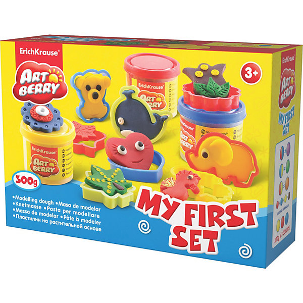 Игровой набор Мой первый набор, Artberry, 3 цвНаборы для лепки<br>Пластилин на растительной основе My First Set, 3 цв от Erich Krause (Эрих Краузе) абсолютно безопасен для Вашего малыша!<br><br>Дополнительная информация:<br><br>Состав: 3 цвета плпстилина по 100 г + 8 формочек для лепки, скалка, стек. <br>Упаковка: картонная коробка в термоплёнке<br><br>Ширина мм: 225<br>Глубина мм: 80<br>Высота мм: 155<br>Вес г: 517<br>Возраст от месяцев: 36<br>Возраст до месяцев: 144<br>Пол: Унисекс<br>Возраст: Детский<br>SKU: 3293863