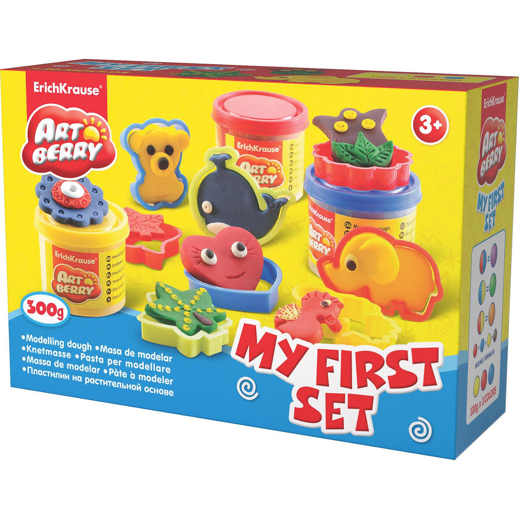 Игровой набор Мой первый набор, Artberry, 3 цвЛепка<br>Пластилин на растительной основе My First Set, 3 цв от Erich Krause (Эрих Краузе) абсолютно безопасен для Вашего малыша!<br><br>Дополнительная информация:<br><br>Состав: 3 цвета плпстилина по 100 г + 8 формочек для лепки, скалка, стек. <br>Упаковка: картонная коробка в термоплёнке<br><br>Ширина мм: 225<br>Глубина мм: 80<br>Высота мм: 155<br>Вес г: 517<br>Возраст от месяцев: 36<br>Возраст до месяцев: 144<br>Пол: Унисекс<br>Возраст: Детский<br>SKU: 3293863