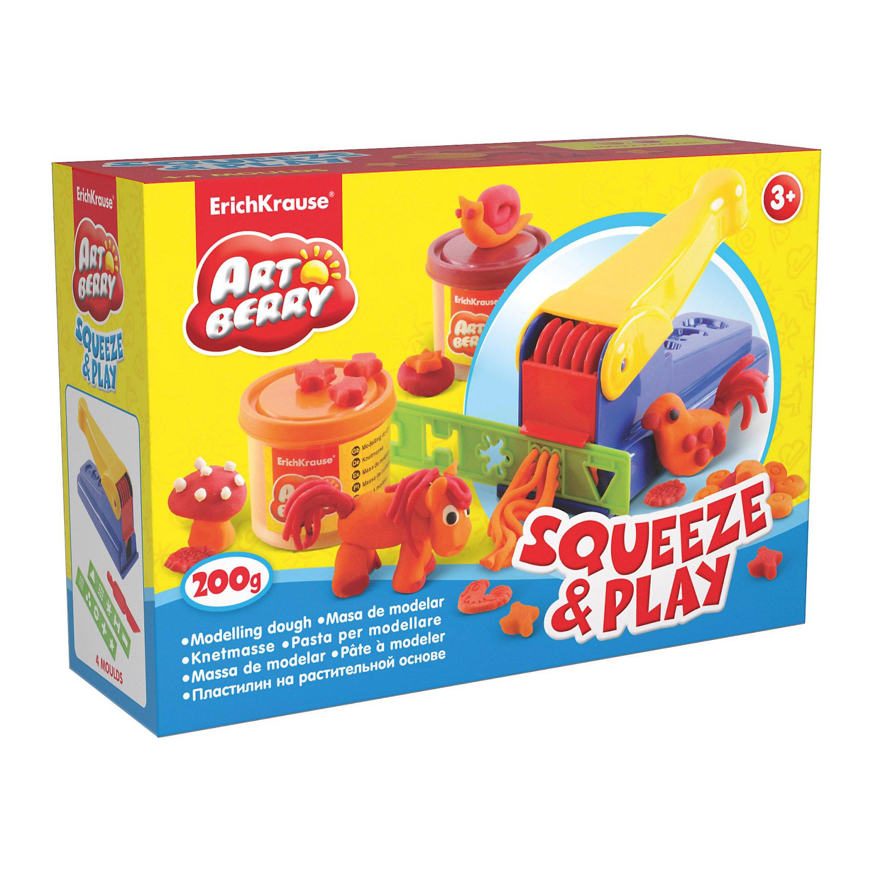 Набор для лепки: Пластилин на растительной основе Squeeze &amp; Play 2 цвета по 100гЛепка<br>Характеристики товара:<br><br>• материал: картонная коробка в термоплёнке<br>• в комплект входит: 2 цвета пластилина по 100 г + пресс для пластилина, 2 декоративные линейки, стек<br>• возраст: от 3 лет<br>• габариты упаковки: 22,5х15,3х7,6 см<br>• вес: 529 г<br>• страна производитель: Россия<br><br>Натуральная продукция – настоящая находка для детского творчества. Так. Пластилин на растительной основе станет любимым материалов для творчества у вашего малыша. Мягкий, приятный для тактильного восприятия, он станет фаворитом среди пластилинов у малыша.<br><br>Набор для лепки: Пластилин на растительной основе Squeeze &amp; Play 2 цвета по 100 г, можно купить в нашем интернет-магазине.<br><br>Ширина мм: 225<br>Глубина мм: 153<br>Высота мм: 76<br>Вес г: 529<br>Возраст от месяцев: 36<br>Возраст до месяцев: 2147483647<br>Пол: Унисекс<br>Возраст: Детский<br>SKU: 3293864