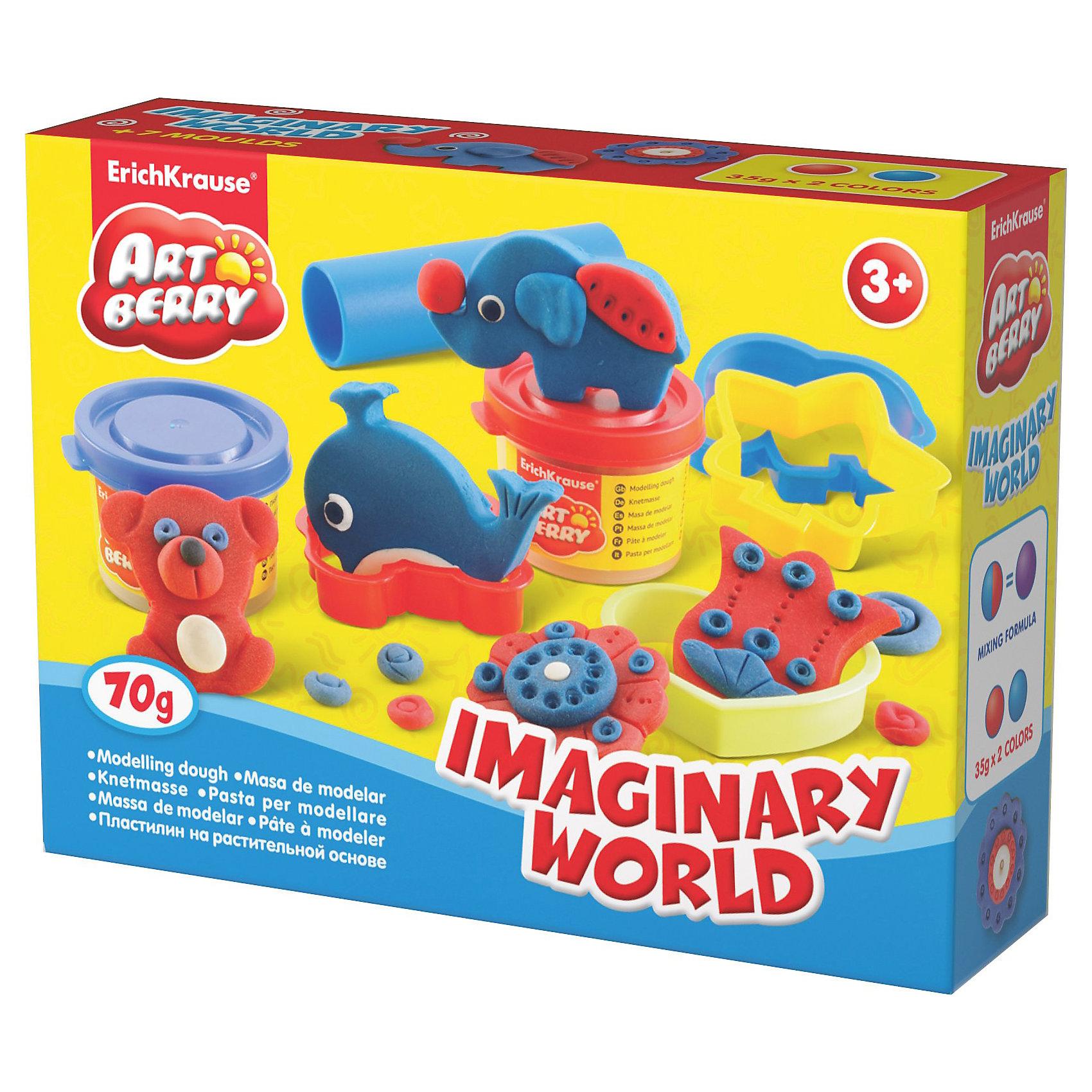 Игровой набор Imaginary World, Artberry, 2 цвЛепка<br>Пластилин на растительной основе Imaginary World, 2 цв  от Erich Krause (Эрих Краузе) абсолютно безопасен для Вашего малыша!<br><br>Дополнительная информация:<br><br>Состав: 2 цвета пластилина по 35 г + 4 формочки, скалка, стек, шприц.<br>Упаковка: картонная коробка в термоплёнке<br><br>Ширина мм: 160<br>Глубина мм: 40<br>Высота мм: 115<br>Вес г: 176<br>Возраст от месяцев: 36<br>Возраст до месяцев: 144<br>Пол: Унисекс<br>Возраст: Детский<br>SKU: 3293865