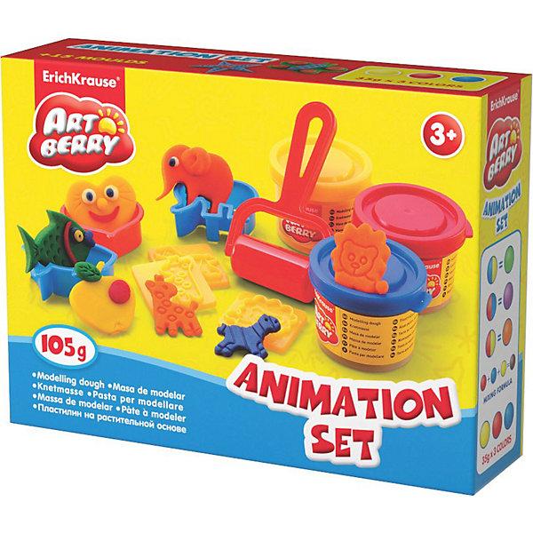 Игровой набор Animation Set, Artberry, 3 цвНаборы для лепки<br>Пластилин на растительной основе Animation Set, 3 цв от Erich Krause (Эрих Краузе) абсолютно безопасен для Вашего малыша!<br><br>Дополнительная информация:<br><br>Состав: 3 цвета пластилина по 35 г + 8 формочек, 5 штампов, стек, ролик для пластилина. <br>Упаковка: картонная коробка в термоплёнке<br>Ширина мм: 160; Глубина мм: 40; Высота мм: 115; Вес г: 206; Возраст от месяцев: 36; Возраст до месяцев: 144; Пол: Унисекс; Возраст: Детский; SKU: 3293866;