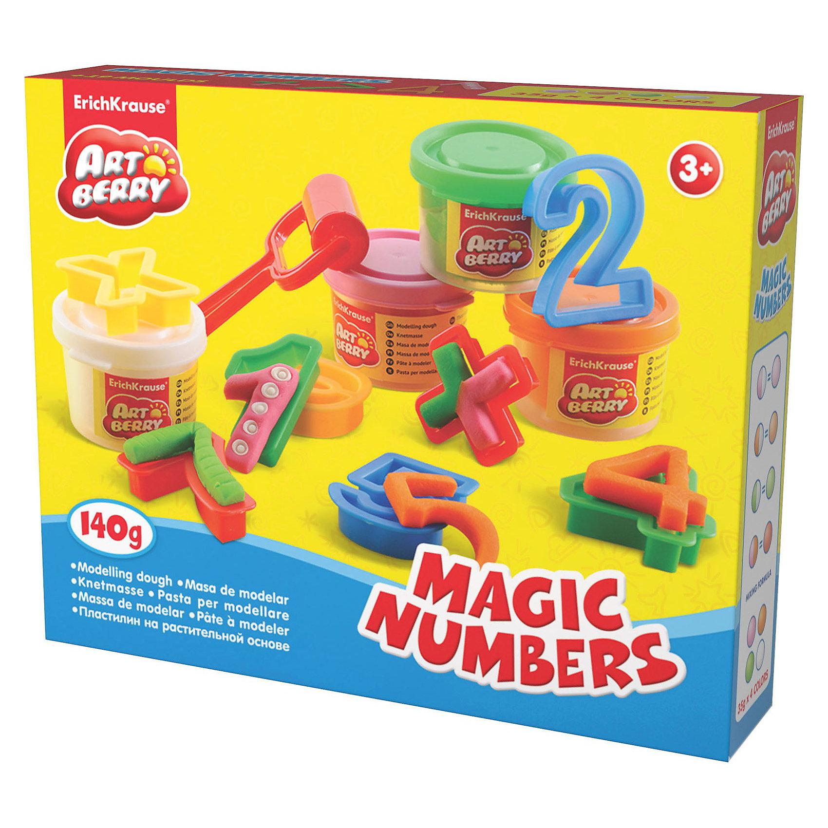 Игровой набор Волшебные цифры, Artberry, 4 цвЛепка<br>Пластилин на растительной основе Magic Numbers, 4 цв от Erich Krause (Эрих Краузе) абсолютно безопасен для Вашего малыша!<br><br>Дополнительная информация:<br><br>Состав: 4 цвета пластилина по 35 г + 15 формочек- арифметика, 3 стека, ролик для пластилина. <br>Упаковка: картонная коробка в термоплёнке<br><br>Ширина мм: 225<br>Глубина мм: 80<br>Высота мм: 150<br>Вес г: 365<br>Возраст от месяцев: 36<br>Возраст до месяцев: 144<br>Пол: Унисекс<br>Возраст: Детский<br>SKU: 3293867