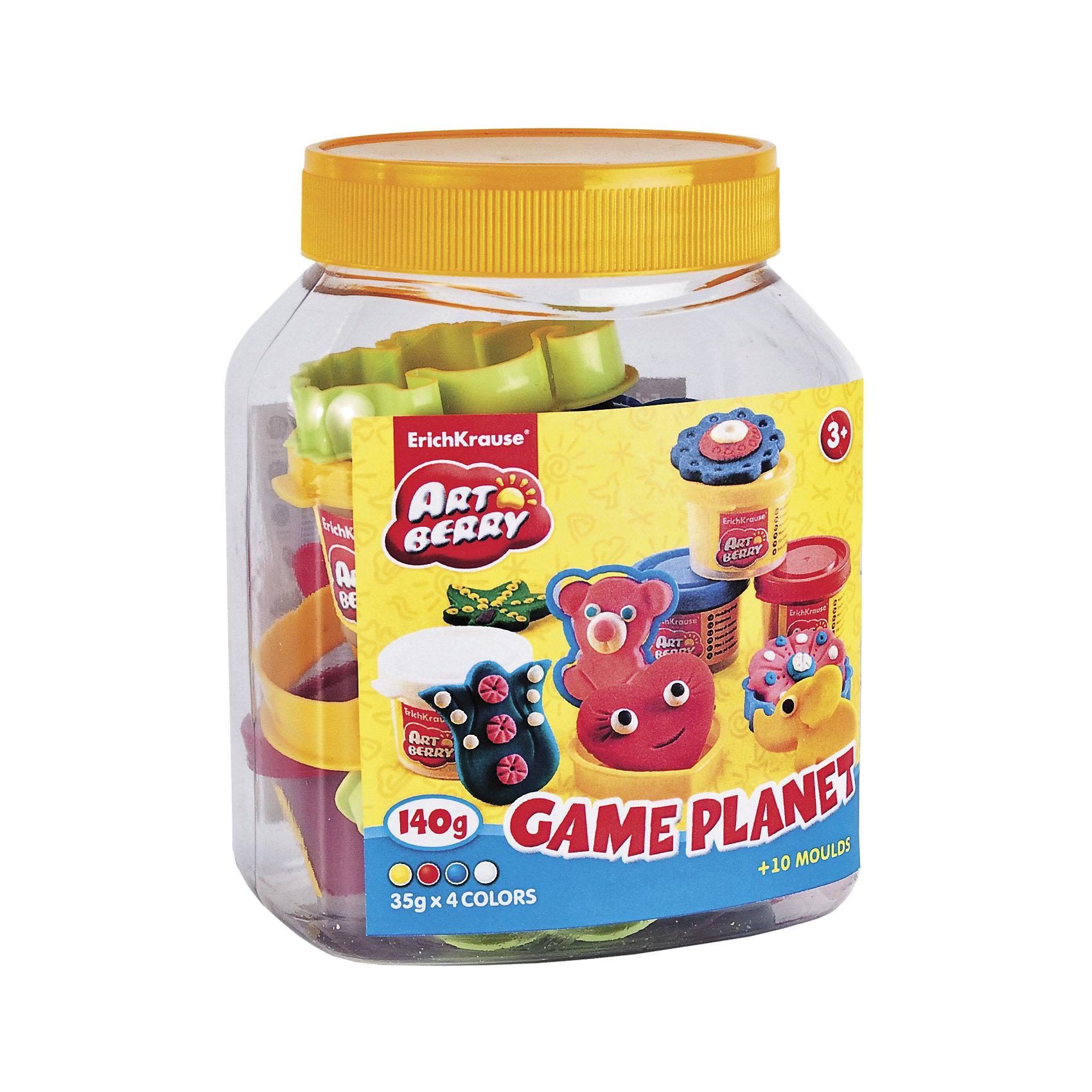 Набор для лепки: Пластилин на растительной основе Game Planet 4 цвета по 35гСостав: 4 цвета пластилина по 35 г + 8 формочек, ролик для пластилина, стек Упаковка: пластиковая банка в термоплёнке<br><br>Ширина мм: 110<br>Глубина мм: 140<br>Высота мм: 95<br>Вес г: 290<br>Возраст от месяцев: 60<br>Возраст до месяцев: 216<br>Пол: Унисекс<br>Возраст: Детский<br>SKU: 3293869