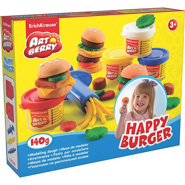 Набор для лепки: Пластилин на растительной основе Happy Burger 4 цвета по 35гНаборы для лепки<br>Характеристики товара:<br><br>• материал упаковки: картонная коробка в термоплёнке<br>• в комплект входит: 4 цвета пластилина по 35 г + 2 формы- трафарета для лепки, скалка, шприц для пластилина, стек <br>• возраст: от 3 лет<br>• габариты упаковки: 25х20х5 см<br>• вес: 300 г<br>• страна производитель: Россия<br><br>Натуральная продукция – настоящая находка для детского творчества. Так, пластилин на растительной основе станет любимым материалов для творчества у вашего малыша. Мягкий, приятный для тактильного восприятия, он станет фаворитом среди пластилинов у малыша.<br><br>Набор для лепки: Пластилин на растительной основе Happy Burger 4 цвета по 35 г, можно купить в нашем интернет-магазине.<br><br>Ширина мм: 253<br>Глубина мм: 200<br>Высота мм: 52<br>Вес г: 430<br>Возраст от месяцев: 36<br>Возраст до месяцев: 2147483647<br>Пол: Унисекс<br>Возраст: Детский<br>SKU: 3293870