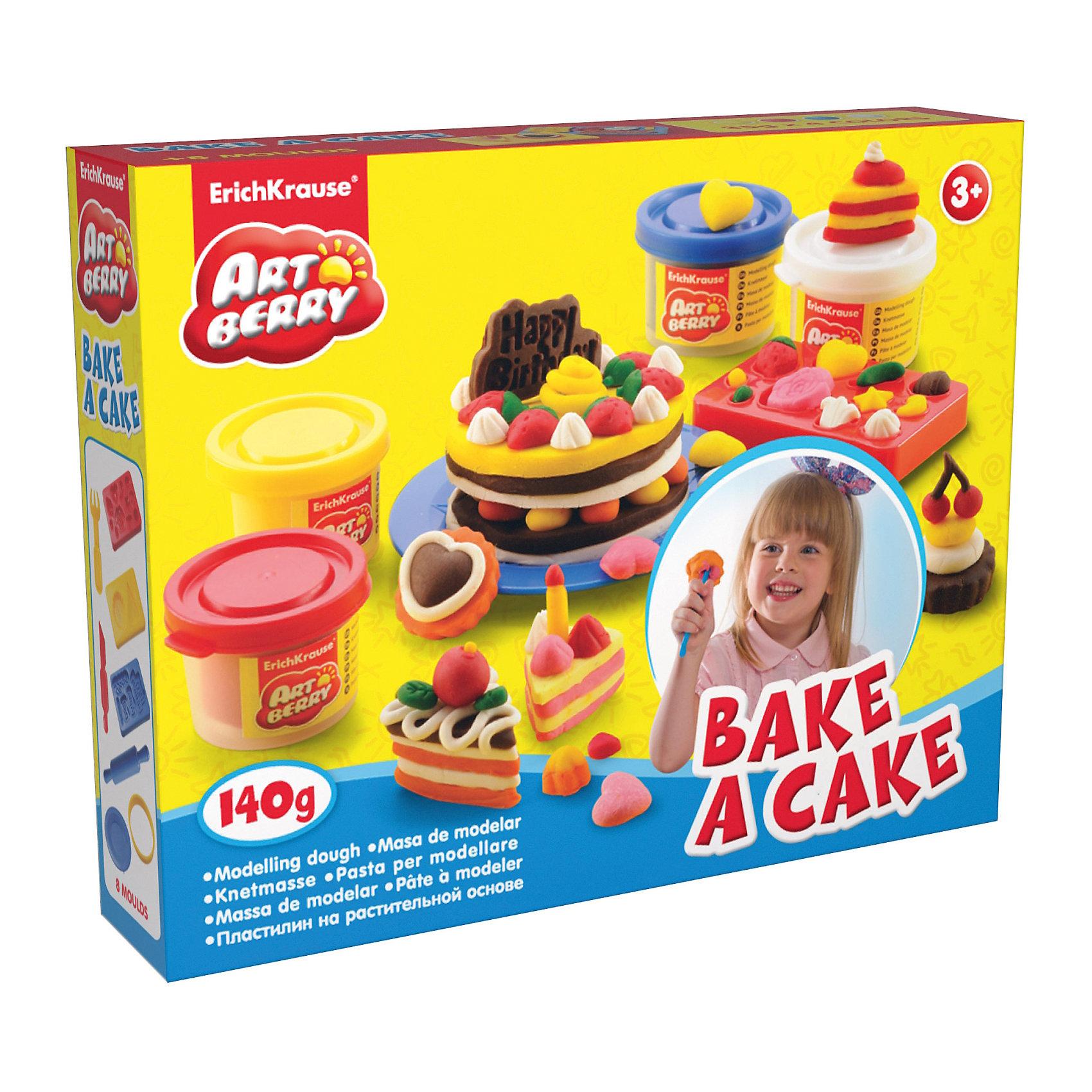 Игровой набор Выпечка, Artberry, 4 цвНаборы для лепки<br>Характеристики товара:<br><br>• в комплекте: пластилин (4 цвета), 3 формочки-трафарета, круглая формочка, стек, скалка, тарелка, вилка;<br>• масса пластилина: 4х35 грамм;<br>• цвета: красный, желтый, синий, белый;<br>• материал: пластилин, пластик;<br>• размер упаковки: 6х6х22 см;<br>• вес: 425 грамм;<br>• возраст: от 3 лет.<br><br>Пластилин Bake a Cake научит ребенка создавать красивые десерты с восхитительным оформлением. В набор входят 4 вида пластилина, формочки, инструменты, тарелочка и вилка. Сначала ребенку предстоит слепить коржики для тортов, а затем украсить их розочками, фруктами или конфетками.<br><br>Масса изготовлена на основе натуральных компонентов: оливковое масло, пшеница, пищевые красители. Она обладает хорошей пластичностью и не липнет к рукам. Масса не засыхает во время работы. Для затвердевания фигурки необходимо оставить ее на воздухе не меньше, чем на сутки.<br><br>Erich Krause (Эрих Краузе) Пластилин на растит. основе Bake a Cake 4 банки 35г можно купить в нашем интернет-магазине.<br><br>Ширина мм: 225<br>Глубина мм: 80<br>Высота мм: 150<br>Вес г: 425<br>Возраст от месяцев: 36<br>Возраст до месяцев: 144<br>Пол: Унисекс<br>Возраст: Детский<br>SKU: 3293871