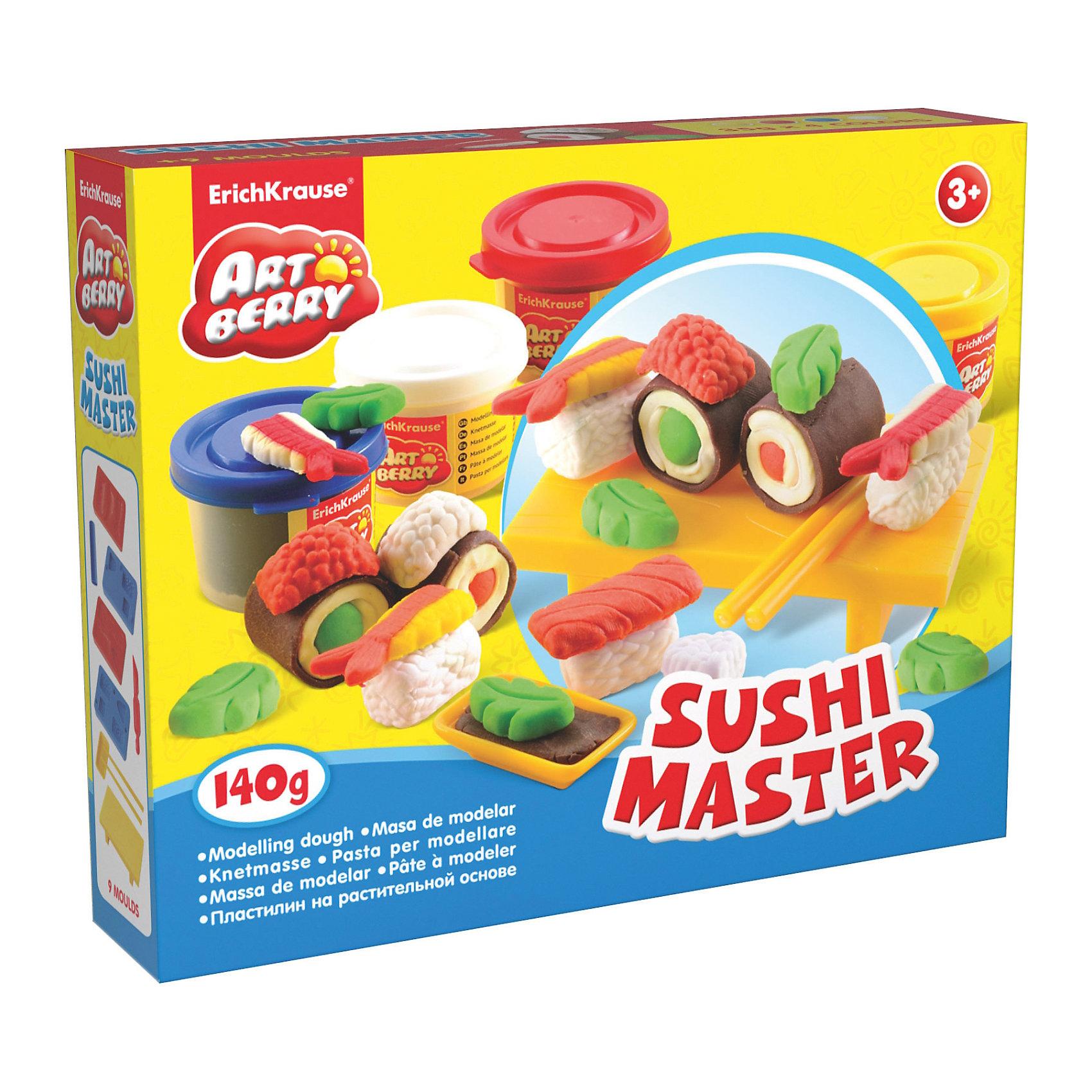 Набор для лепки: Пластилин на растительной основе Sushi Master 4 цвета по 35гСостав: 4 цвета пластилина по 35 г + 4 формы-трафарета для лепки, скалка, стек, палочки, 2 подставки Упаковка: картонная коробка в термоплёнке<br><br>Ширина мм: 253<br>Глубина мм: 200<br>Высота мм: 52<br>Вес г: 430<br>Возраст от месяцев: 60<br>Возраст до месяцев: 216<br>Пол: Унисекс<br>Возраст: Детский<br>SKU: 3293872
