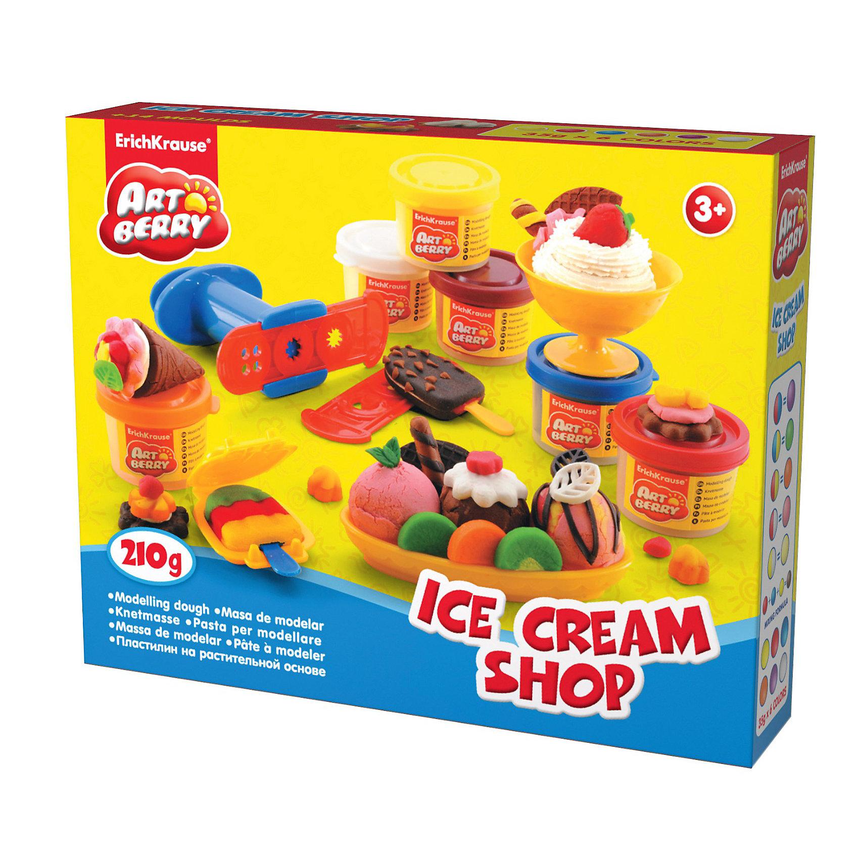 Игровой набор Магазин мороженого, Artberry, 6 цвПластилин от Erich Krause (Эрих Краузе)  на растительной основе Ice Cream Shop, 6 цв абсолютно безопасен для Вашего малыша!<br><br>Дополнительная информация:<br><br>Состав: 6 цветов пластилина по 35 г + 2 формы-трафарета для пластилина, 2 формочки, скалка, стек, 2 палочки, 2 тарелки, ложка, шприц, 2 декоративные линейки. Упаковка: картонная коробка в термоплёнке<br><br>Ширина мм: 250<br>Глубина мм: 200<br>Высота мм: 500<br>Вес г: 537<br>Возраст от месяцев: 36<br>Возраст до месяцев: 144<br>Пол: Унисекс<br>Возраст: Детский<br>SKU: 3293873