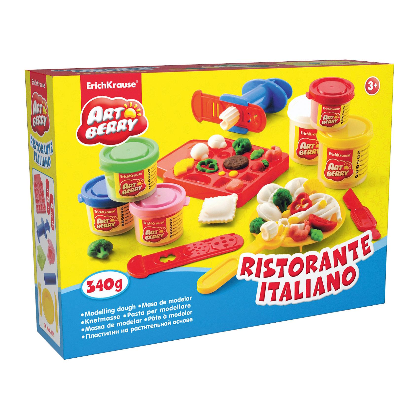 Набор для лепки: Пластилин на растительной основе Ristorante Italiano, 6 цветовЛепка<br>Состав: 2 цвета пластилина по 100 г, 4 цвета пластилина по 35 г + форма-трафарет для лепки, 2 формочки, скалка, стек, вилка, тарелка, шприц, 2 декоративные линейки Упаковка: картонная коробка в термоплёнке<br><br>Ширина мм: 315<br>Глубина мм: 230<br>Высота мм: 78<br>Вес г: 760<br>Возраст от месяцев: 60<br>Возраст до месяцев: 216<br>Пол: Унисекс<br>Возраст: Детский<br>SKU: 3293877