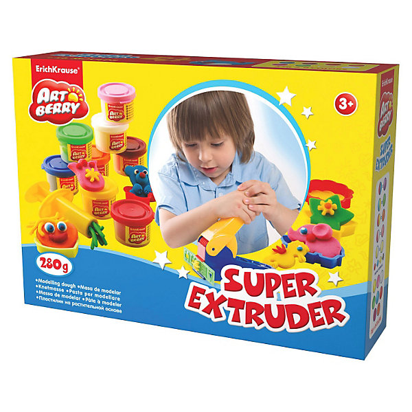 Игровой набор Super Extruder Playset, Artberry, 8 цвНаборы для лепки<br>Пластилин на растительной основе Super Extruder Playset, 8 цв от Erich Krause (Эрих Краузе) абсолютно безопасен для Вашего малыша!<br><br>Дополнительная информация:<br><br>Состав: 8 цветов пластилина по 35 г + 8 формочек для лепки, скалка, стек, 2 шприца, 2 декоративные линейки, пресс и ролик для пластилина.  <br>Упаковка: картонная коробка в термоплёнке<br><br>Ширина мм: 315<br>Глубина мм: 80<br>Высота мм: 210<br>Вес г: 838<br>Возраст от месяцев: 36<br>Возраст до месяцев: 144<br>Пол: Унисекс<br>Возраст: Детский<br>SKU: 3293878