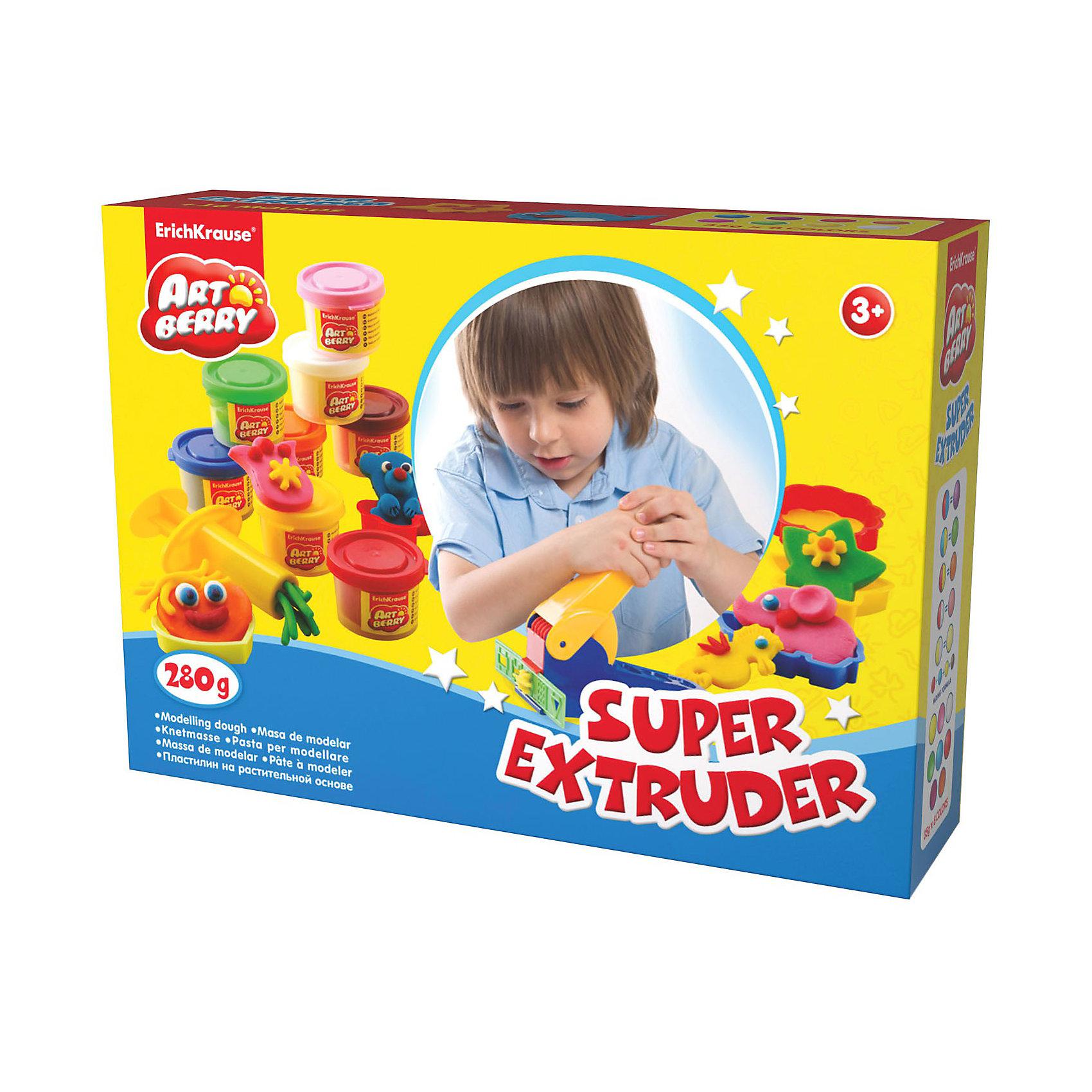 Игровой набор Super Extruder Playset, Artberry, 8 цвЛепка<br>Пластилин на растительной основе Super Extruder Playset, 8 цв от Erich Krause (Эрих Краузе) абсолютно безопасен для Вашего малыша!<br><br>Дополнительная информация:<br><br>Состав: 8 цветов пластилина по 35 г + 8 формочек для лепки, скалка, стек, 2 шприца, 2 декоративные линейки, пресс и ролик для пластилина.  <br>Упаковка: картонная коробка в термоплёнке<br><br>Ширина мм: 315<br>Глубина мм: 80<br>Высота мм: 210<br>Вес г: 838<br>Возраст от месяцев: 36<br>Возраст до месяцев: 144<br>Пол: Унисекс<br>Возраст: Детский<br>SKU: 3293878