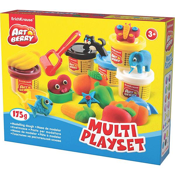 Игровой набор Multi Playset, Artberry, 5 цвНаборы для лепки<br>Пластилин на растительной основе Multi Playset, 5 цв Erich Krause (Эрих Краузе) абсолютно безопасен для Вашего малыша!<br><br>Дополнительная информация:<br><br>Состав: 5 цветов пластилина по 35 г + 9 объёмных формочек, 8 формочек, 3 стека, ролик для пластилина.<br>Упаковка: картонная коробка в термоплёнке<br><br>Ширина мм: 250<br>Глубина мм: 40<br>Высота мм: 200<br>Вес г: 433<br>Возраст от месяцев: 36<br>Возраст до месяцев: 144<br>Пол: Унисекс<br>Возраст: Детский<br>SKU: 3293879