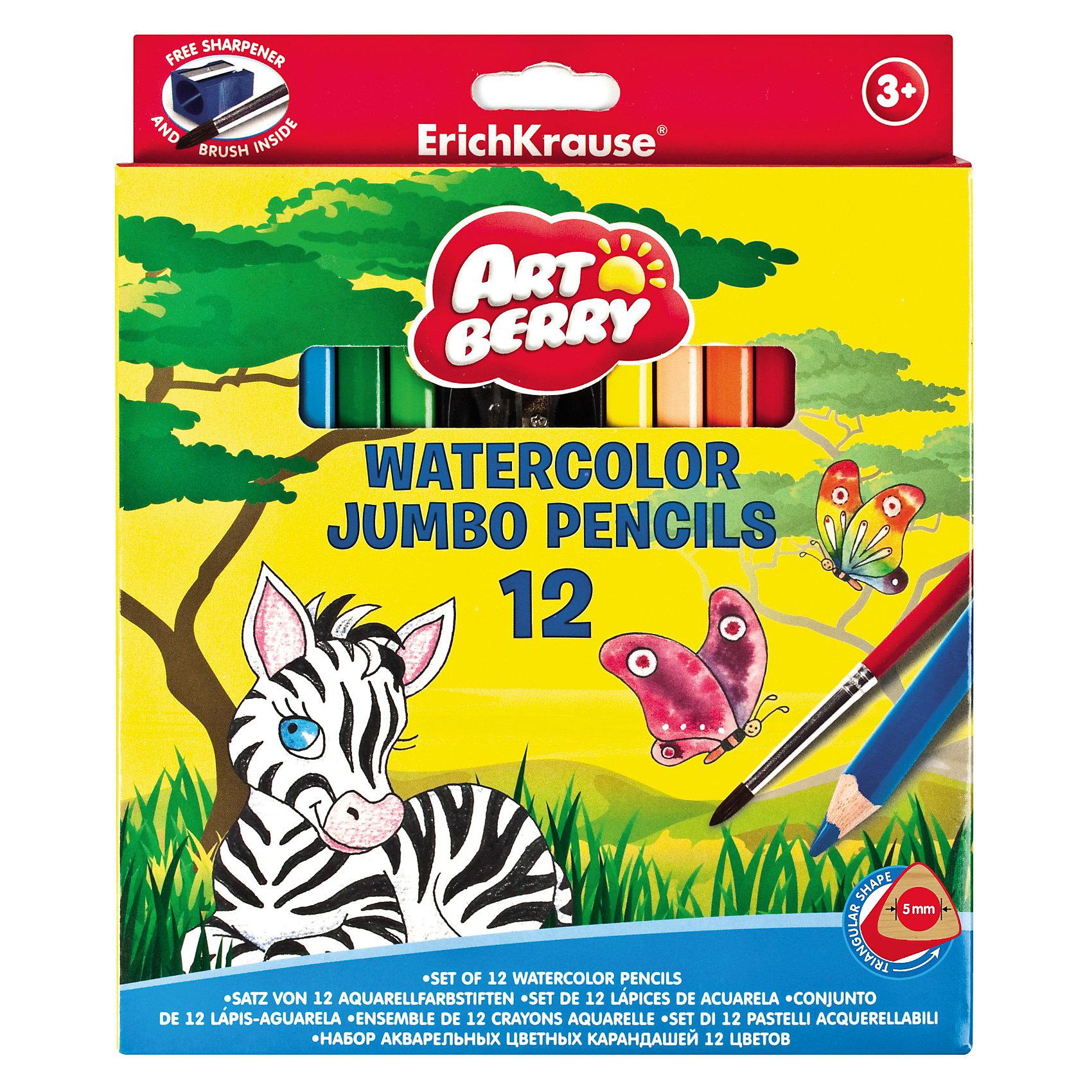 Карандаши акварельные треугольные с точилк и кисточкой Artberry, 12цвЦветные акварельные карандаши с утолщенным корпусом, 10 мм от Erich Krause (Эрих Краузе)  специально разработанны для маленьких детей!<br><br>Дополнительная информация:<br><br>Грифель 5.8мм, <br>корпус треугольный, что позволяет правильно держать карандаш. <br>Точилка и кисточка в комплекте. <br><br>Грифели не крошатся при рисовании, при падении не трескаются.<br><br>Ширина мм: 180<br>Глубина мм: 10<br>Высота мм: 210<br>Вес г: 185<br>Возраст от месяцев: 36<br>Возраст до месяцев: 144<br>Пол: Унисекс<br>Возраст: Детский<br>SKU: 3293890