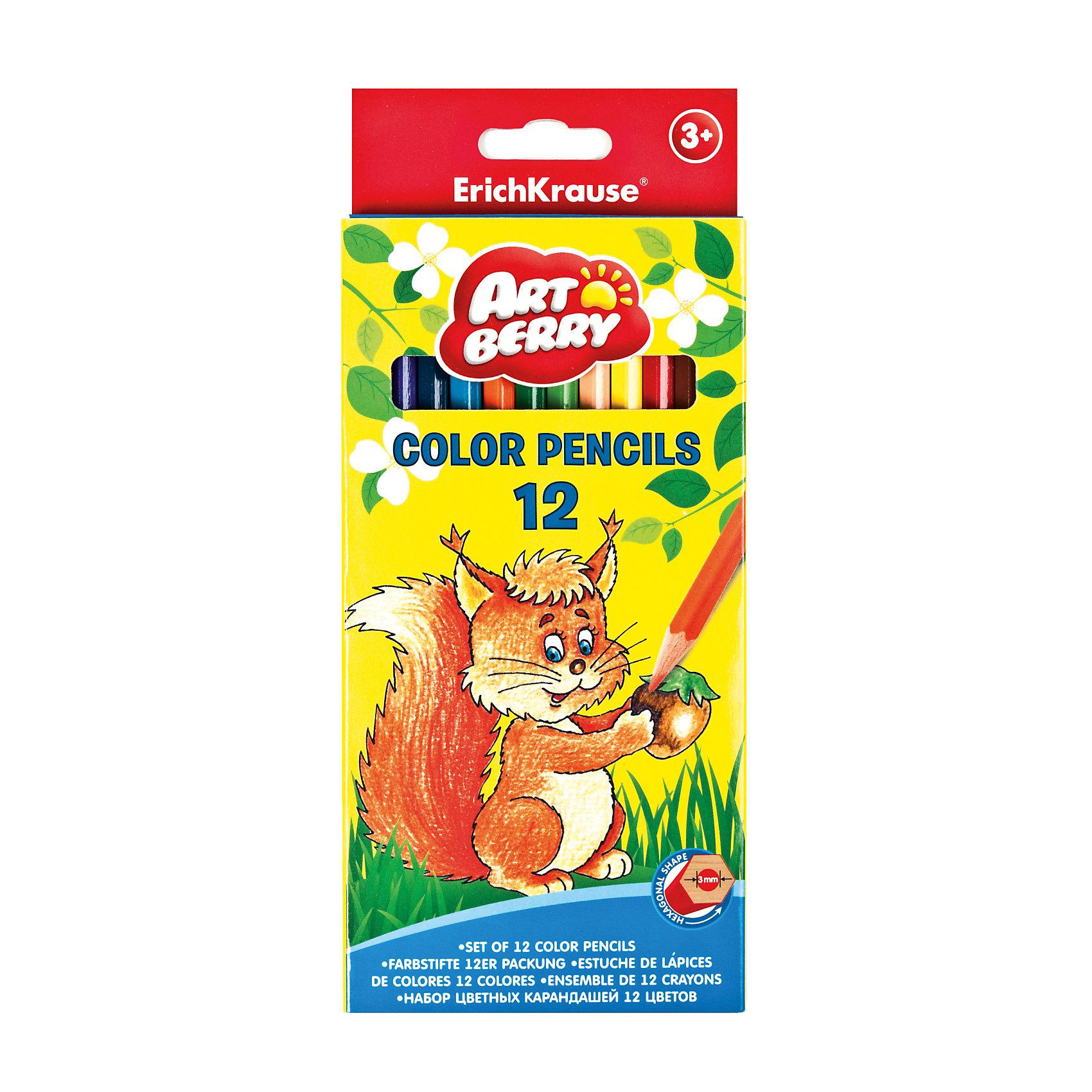 Цветные карандаши шестигранные ArtBerry Premium, 12 цветовХарактеристики цветных шестигранных карандашей ArtBerry:<br><br>• возраст: от 5 лет<br>• пол: для мальчиков и девочек<br>• комплект: 12 карандаша разного цвета<br>• материал: дерево.<br>• упаковка: картонная коробка <br>• толщина грифеля: 3 мм.<br>• длина карандаша: 17 см.<br>• размеры упаковки: 18.5x6x1 см<br>• вес в упаковке : 55 г.<br>• бренд: Erich Krause<br>• страна обладатель бренда: Россия<br><br>Цветные карандаши – постоянные спутники юных художников и спасители мам, позволяющие хоть на несколько минут отвлечь активного ребенка. Рисование помогает детям развить фантазию и логическое мышление путем соотнесения цветов и форм, позволяет выработать усидчивость и учит сосредотачивать внимание на конкретной задаче. К тому же это весело, особенно если родители присоединятся к творческому процессу. <br><br>Карандаши Erich Krause Artberry 12 цветов и другие виды пишущих принадлежностей, представленные в разделе «Всё для рисования», подходят не только для детского творчества, но и для взрослых, отличаются высоким качеством и позволяют реализовывать проекты любой сложности. Мы не завышаем цены на данные позиции каталога, даже учитывая их широкую востребованность.<br><br>Цветные карандаши шестигранные ArtBerry торговой марки Erich Krause  можно купить в нашем интернет-магазине.<br><br>Ширина мм: 90<br>Глубина мм: 207<br>Высота мм: 10<br>Вес г: 96<br>Возраст от месяцев: 60<br>Возраст до месяцев: 216<br>Пол: Унисекс<br>Возраст: Детский<br>SKU: 3293893