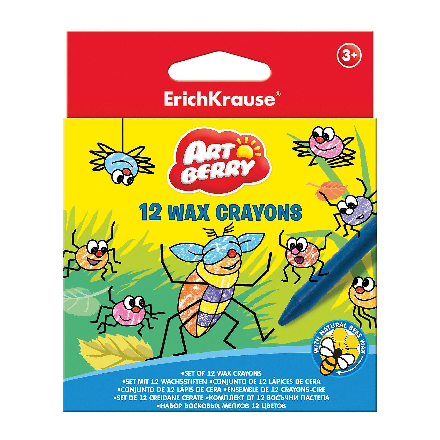 Восковые мелки ArtBerry, 12 цветовМасляные и восковые мелки<br>Восковые мелки ArtBerry, 12 цветов<br><br>Характеристики:<br><br>• В набор входит: восемь мелков<br>• Размер упаковки: 12 * 1 * 6,5 см.<br>• Диаметр: 0,7 см.<br>• Длина: 9 см.<br>• Вес: 50 г.<br>• Для детей в возрасте: от 3-х лет<br>• Страна производитель: Китай<br><br>Восемь ярких цветных карандашей, изготовленных из пчелиного воска с добавлением пищевых красителей безопасны для детей и не требуют сильного нажима, чтобы ими можно было рисовать. Мелки не оставляют следов на руках, но каждый их мелков обернут бумагой. Чтобы затачивать мелки вам нужно порисовать ими немного по бумаги и края сточатся сами, заострив носик. Рисуя мелками детям особенно нравится, что рисовать можно и боковыми частями мелка, а не только грифелем как в карандаше или фломастере. <br><br>Мягкие мелки при рисовании не оставляют царапин и станут идеальным инструментом для первых попыток рисования. Мелки не ломаются при рисовании и доставляют только положительные эмоции при рисовании. Двенадцать стандартнх цветов набора помогут сотворить лбой шедевр и выучить названия основных цветов. Занимаясь рисованием с восковыми мелками дети развивают моторику рук, творческие способности, восприятие цветов и их сочетаний, а также весело проводят время. <br><br>Восковые мелки ArtBerry, 12 цветов можно купить в нашем интернет-магазине.<br><br>Ширина мм: 98<br>Глубина мм: 120<br>Высота мм: 10<br>Вес г: 74<br>Возраст от месяцев: 60<br>Возраст до месяцев: 216<br>Пол: Унисекс<br>Возраст: Детский<br>SKU: 3293906