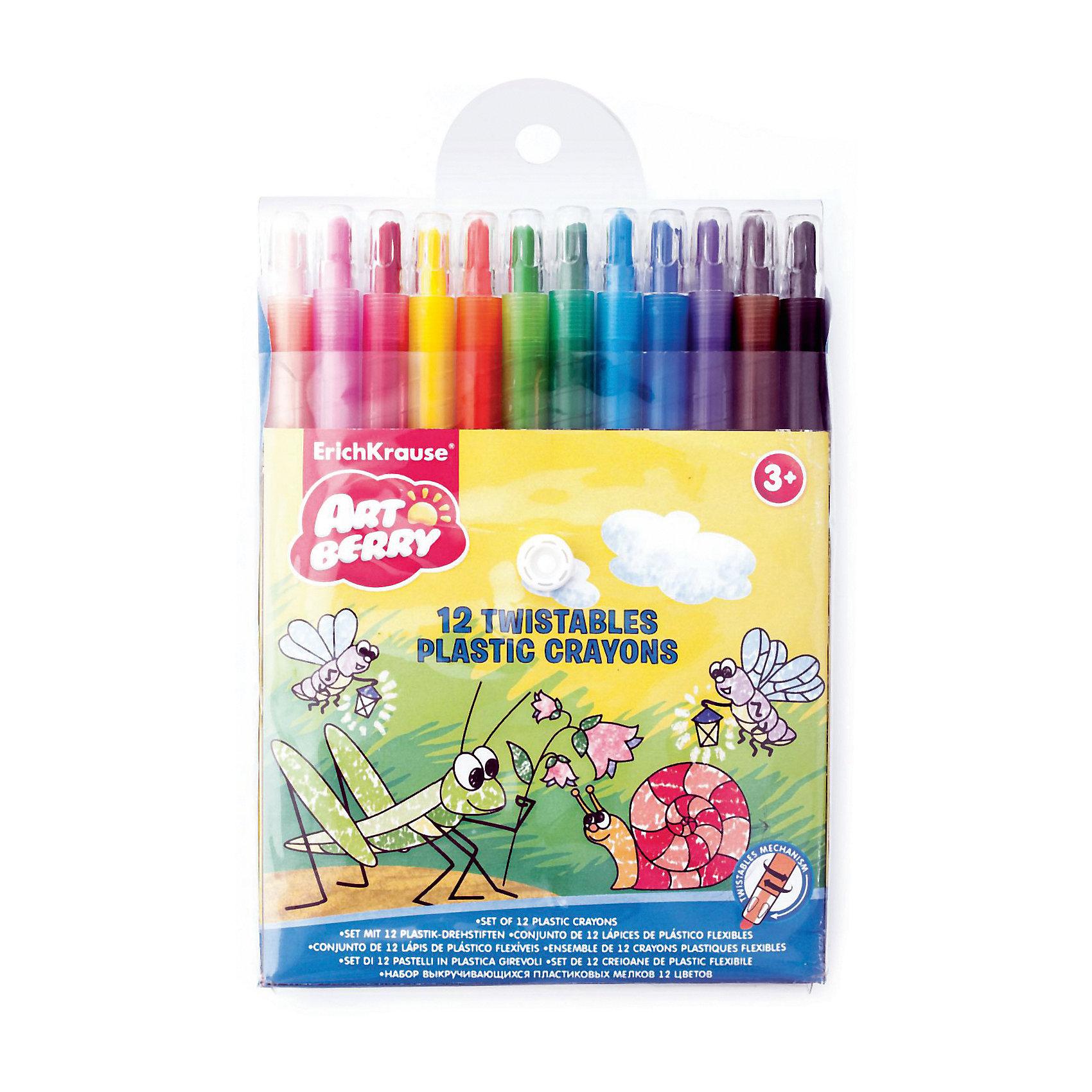 Пластиковые мелки ArtBerry twist, 12 цветовРисование<br>Характеристики товара:<br><br>• материал упаковки: пластик <br>• количество цветов: 12<br>• пластиковый корпус с выкручивающимся механизмом<br>• длина: 16 см<br>• круглые<br>• возраст: от 3 лет<br>• вес: 178 г<br>• габариты упаковки: 13,8х16х1,5 см<br>• страна производитель: Китай<br><br>Мелки пачкают ручки? Попробуйте приобрести ребенку мелки в пластиковой упаковке. Основная часть мелка выдвигается по мере израсходования рабочей части. Удобная треугольная форма карандаша уверенно сидит в маленькой детской ручке.<br><br>Пластиковые мелки ArtBerry twist, 12 цветов, можно купить в нашем интернет-магазине.<br><br>Ширина мм: 138<br>Глубина мм: 160<br>Высота мм: 15<br>Вес г: 178<br>Возраст от месяцев: 36<br>Возраст до месяцев: 2147483647<br>Пол: Унисекс<br>Возраст: Детский<br>SKU: 3293907