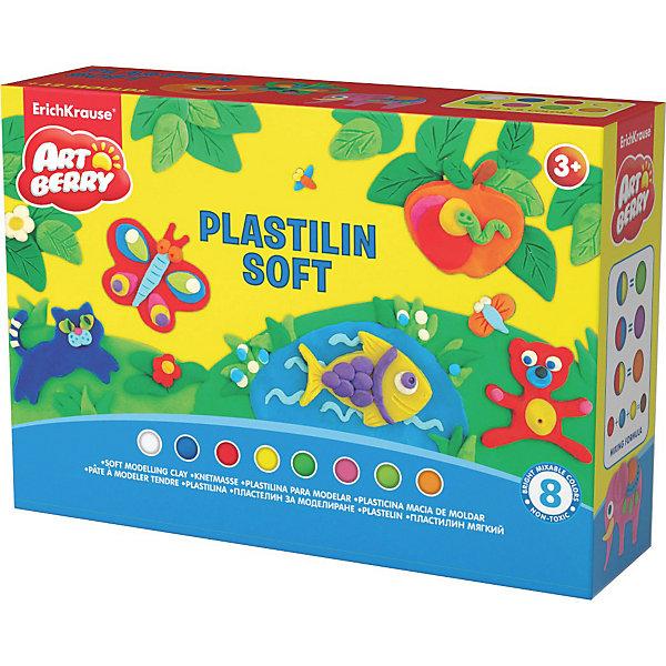 Пластилин мягкий Creative Game Artberry, 8 цвРисование и лепка<br>Пластилин мягкий Artberry Creative Game, 8 цв от Erich Krause (Эрих Краузе)  производится на основе безопасных для Вашего малыша компонентов высокого качества!  Не застывает на воздухе. <br><br>Дополнительная информация:<br><br>8 цветов/24г,<br>с европодвесом<br><br>Легко разминается, пластичная структура позволяет лепить самые маленькие предметы.<br>Ширина мм: 200; Глубина мм: 60; Высота мм: 130; Вес г: 338; Возраст от месяцев: 36; Возраст до месяцев: 144; Пол: Унисекс; Возраст: Детский; SKU: 3293911;