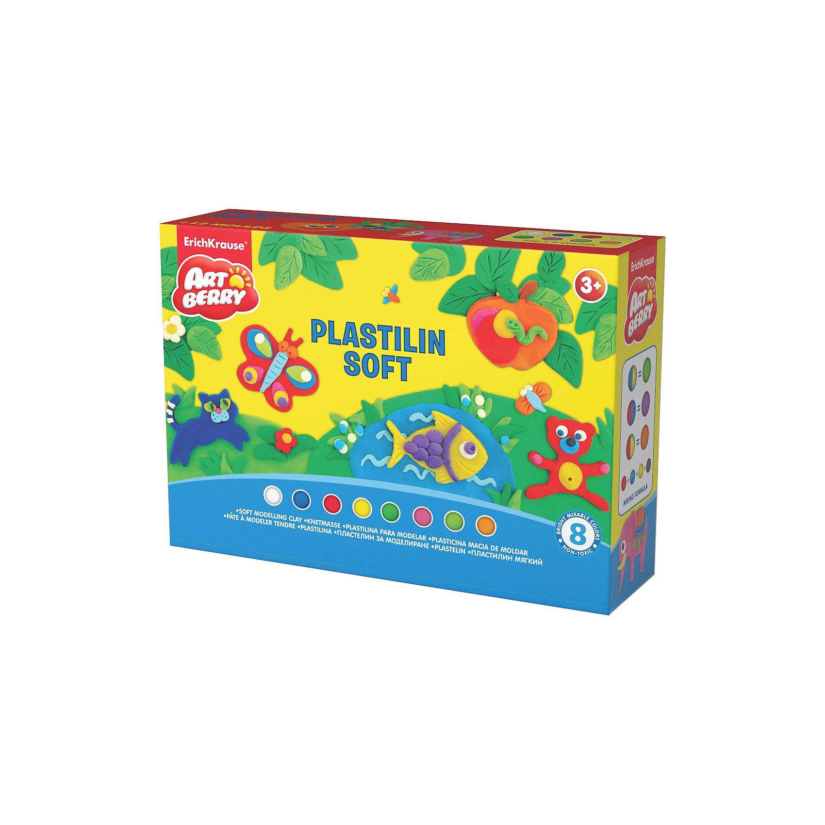 Пластилин мягкий Creative Game Artberry, 8 цвПластилин мягкий Artberry Creative Game, 8 цв от Erich Krause (Эрих Краузе)  производится на основе безопасных для Вашего малыша компонентов высокого качества!  Не застывает на воздухе. <br><br>Дополнительная информация:<br><br>8 цветов/24г,<br>с европодвесом<br><br>Легко разминается, пластичная структура позволяет лепить самые маленькие предметы.<br><br>Ширина мм: 200<br>Глубина мм: 60<br>Высота мм: 130<br>Вес г: 338<br>Возраст от месяцев: 36<br>Возраст до месяцев: 144<br>Пол: Унисекс<br>Возраст: Детский<br>SKU: 3293911