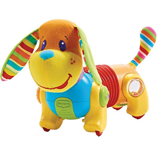 Собачка Фрэд  Иди за мной, Tiny LoveИнтерактивные игрушки для малышей<br>Собачка Фрэд  Догони меня, Tiny Love (Тини Лав)   <br><br>Игрушка-собачка Фрэд Догони меня фирмы Tiny Love (Тини Лав) в новом дизайне станет верной спутницей тех малышей, которые уже начинают ползать и исследовать окружающий мир. <br><br>Стоит малышу прикоснуться к собачке, и она, как по команде, начинает двигаться, издавая при этом смешные звуки. Фрэд напомнит о себе лаем, если малыш вдруг о нем забудет. <br><br>Собачка двигается под чудесную музыку. Средняя часть туловища у нее подвижна, благодаря чему Фрэду можно задавать различные направления движения. Это привлекает к нему внимание малышей самого разного возраста. Например, Фрэд может бегать по кругу, чтобы показать самым маленьким, которые  учатся ползать, как двигаться. А для тех деток, которые уже хорошо ползают, можно настроить собачку на прямолинейное движение, чтобы они могли следовать за своим спутником по всей комнате. <br><br>Собачка развивает мелкую моторику рук, координацию движений, органы чувств, мировосприятие и эмоциональную сферу ребенка.<br><br>Дополнительная информация:<br><br>- Размеры: 10 х 26 х 19 см.<br>- Материал: высококачественная пластмасса, полиэстер.<br>- 3 батарейки типа АА (не входят в комплект). <br><br>Собачку Фрэд  Догони меня, Tiny Love (Тини Лав)  можно купить в нашем интернет - магазине.<br><br>Ширина мм: 260<br>Глубина мм: 145<br>Высота мм: 250<br>Вес г: 1587<br>Возраст от месяцев: 6<br>Возраст до месяцев: 48<br>Пол: Унисекс<br>Возраст: Детский<br>SKU: 3293976
