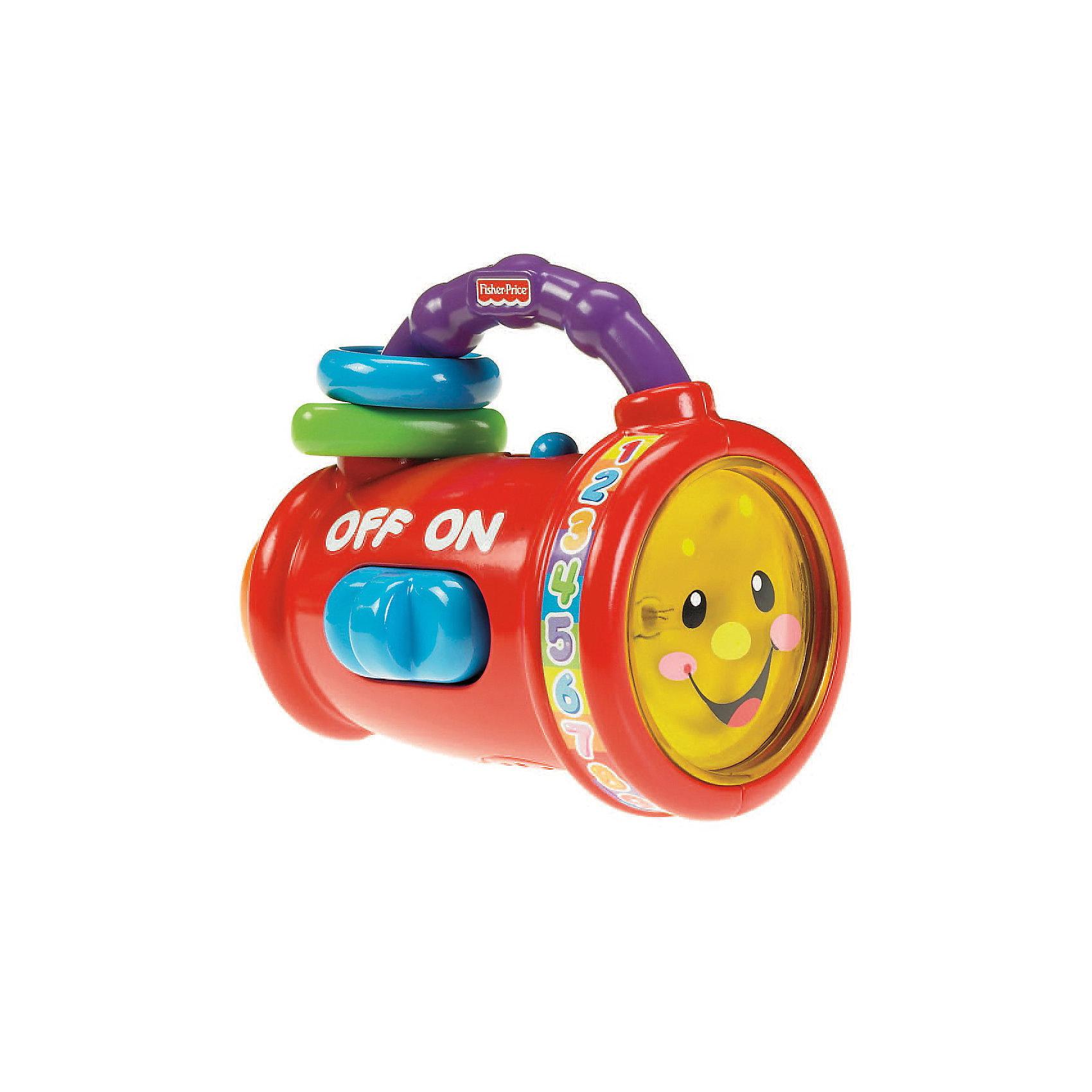 Обучающий фонарик, Fisher-PriceКрасивый и яркий обучающий фонарик, который удобно держать даже самыми маленькими ручками!<br>Фонарик проигрывает более 20 песен, мелодий и фраз! Фонарик имеет обучающие функции:  преподает цифры, цвета, противоположности, интерактивные фразы и песни! Переключая кнопку сбоку фонарика, малыш может включать/выключать лампочку фонарика, прослушать слова-антонимы; нажав кнопку сзади фонарика, можно услышать чудесную песенку.<br>Развитие мелкой моторики: ручка фонарика, оснащенная шариками-погремушками, идеально помещается в детской ладошке. <br><br>Дополнительная информация:<br><br>- В комплекте: фонарик - 1 шт.<br>- Материал: пластмасса.<br>- Раззмеры: 15х8х10 см.<br>- Для работы игрушки необходимы 2 батарейки типа ААА (нет в комплекте).<br><br>Обучающий фонарик, Fisher-Price можно купить в нашем магазине.<br><br>Ширина мм: 150<br>Глубина мм: 80<br>Высота мм: 100<br>Вес г: 300<br>Возраст от месяцев: 6<br>Возраст до месяцев: 36<br>Пол: Унисекс<br>Возраст: Детский<br>SKU: 3294203