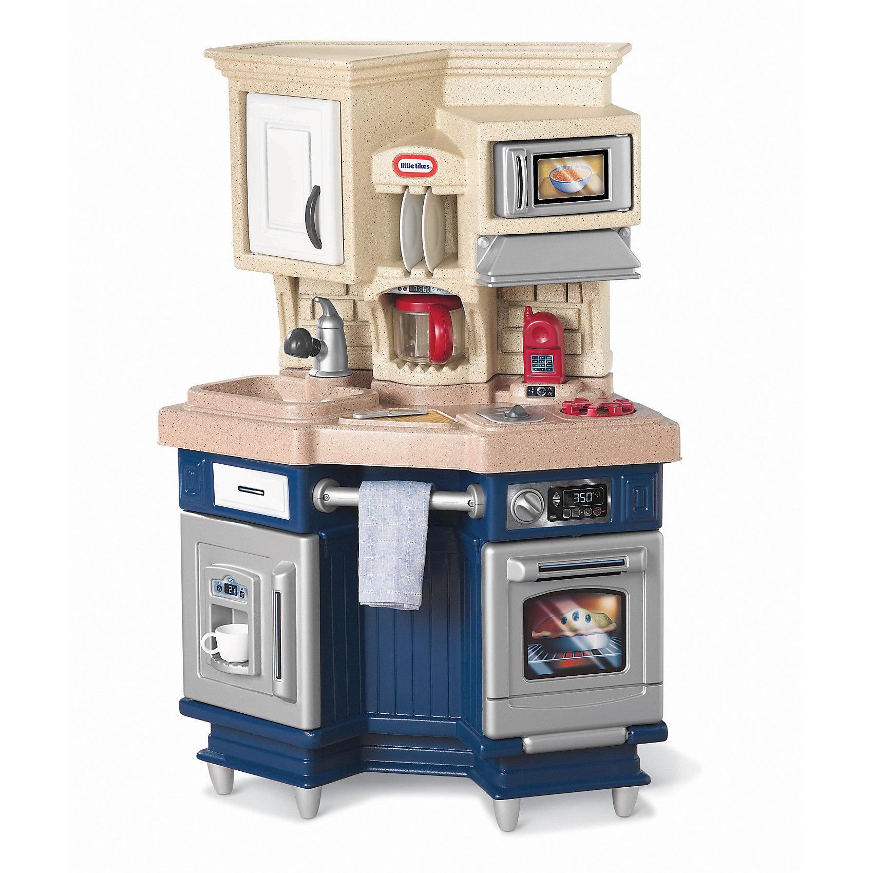 Кухня, со звуком, синяя, Little TikesДетские кухни<br>Кухня, со звуком, синяя, Little Tikes (Литтл Тайкс) – это удивительная игрушка, оснащенная бытовой техникой, которая как две капли воды похожа на взрослую. Ваша девочка сможет почувствовать себя настоящим кулинаром – ведь в ее распоряжении бытовая техника с многочисленными звуковыми и световыми эффектами. Стильная кухня оформлена в двух цветах: светлый верх, где располагаются микроволновая печь, шкаф и полочки для хранения посуды, выполнен из материалов «под камень». Нижняя часть оформлена в синих тонах. Внизу детям удобно готовить в духовке и пользоваться холодильником. Над плитой есть вытяжка. Все дверцы открываются. На мини кухне даже есть мобильный телефон, чтобы можно было быстро заказать продукты или позвонить друзьям и пригласить их на ужин.<br><br>Характеристики:<br>-Игрушка обладает игровыми и световыми эффектами (духовка и варочная панель издают звуки при включении, микроволновка снабжена звуковыми и световыми эффектами, во время приготовления пищи на конфорке слышен звук готовящейся еды, при открытии крана слышится звук воды)<br>-Развивает: логическое и абстрактное мышление, мелкую моторику, новые социальные роли, коммуникативные навыки<br>-Когда ребёнок подрастёт, высоту кухни можно будет увеличить с помощью ножек <br><br>Комплектация: детали для сборки кухни, аксессуары (2 тарелки, 2 вилки, 2 ложки, 2 ножа, 2 чашки, чайник, мобильный телефон, сковорода)<br><br>Дополнительная информация:<br>-Вес в упаковке: 10,2 кг<br>-Размеры в упаковке: 74х100х38 см <br>-Размеры собранной кухни: 102х71х36 см<br>-Материалы: пластик<br>-Требуется сборка<br>-Для питания игрушки необходимы 2 батарейки АА (в комплект не входят)<br><br>Порадуйте свою девочку супер-оригинальным подарком – мини-кухней, которая очень компактная, занимает мало места и принесет Вашему ребенку много радости! <br><br>Кухня, со звуком, синяя, Little Tikes (Литтл Тайкс) можно купить в нашем магазине.<br><br>Ширина мм: 385<br>Глубина мм: 1000<br>Вы