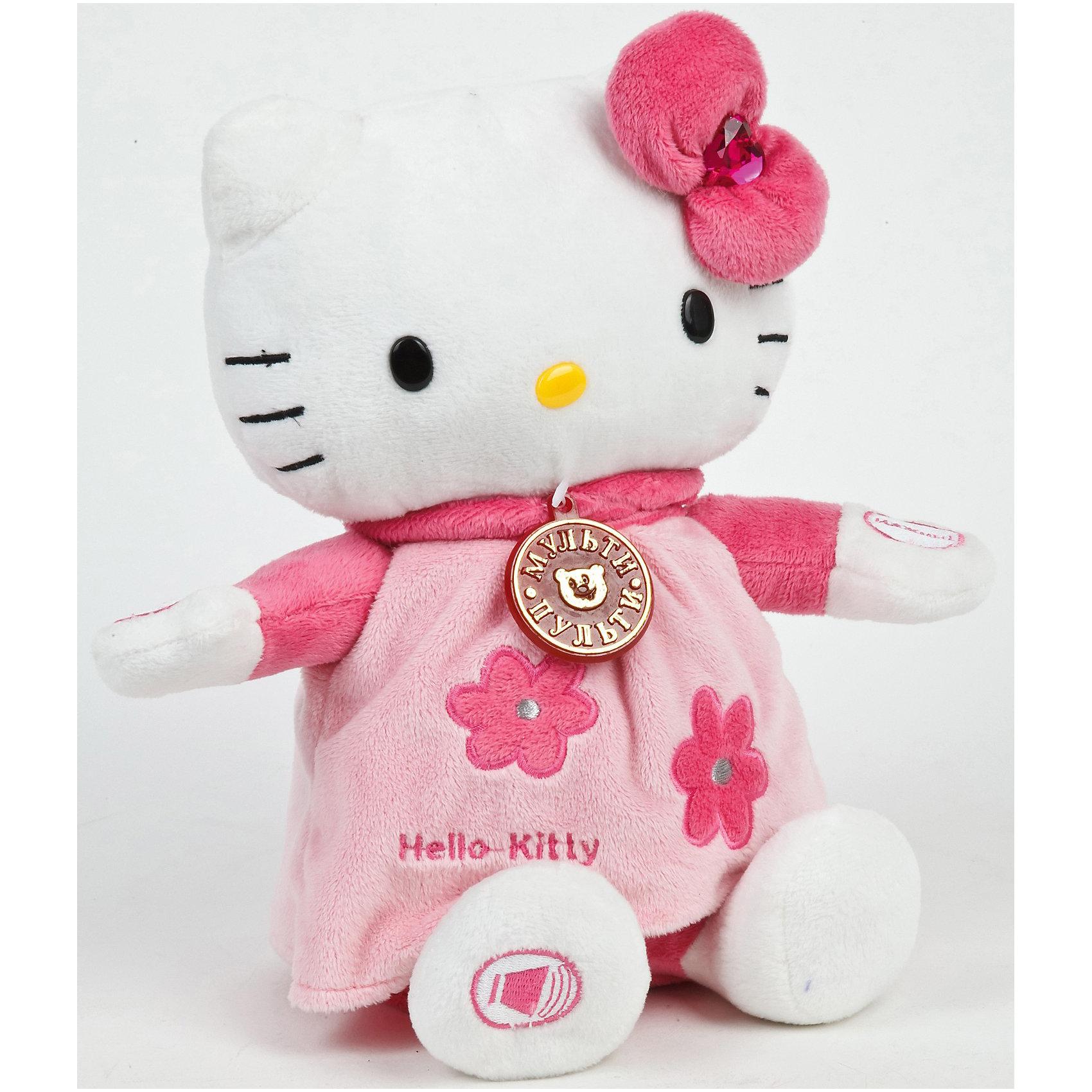 Мягкая  игрушка Hello Kitty, 25 см, со звуком, МУЛЬТИ-ПУЛЬТИМягкая  игрушка Hello Kitty  - милая и симпатичная кошечка, которая умеет рассказывать сказки.<br><br>Теперь Хелло Китти  может стать настоящим другом для Вашего ребенка! Эта милая кошечка знает 5 замечательных сказок, которые она готова пересказывать множество раз по желанию Вашего ребенка. <br>При этом, рассказывая сказки, кошечка качает головой.<br><br>Дополнительная информация:<br><br>- Высота игрушки: 25 см.<br>- 3 уровня громкости, кнопка пауза.<br>- Качает головой в стороны, когда рассказывает сказки. <br>- Рассказывает сказки: Аленький цветочек, Дюймовочка, Золушка, Красная шапочка, Принцесса на горошине.<br><br>Мягкую  игрушку Hello Kitty можно купить в нашем интернет-магазине.<br><br>Ширина мм: 190<br>Глубина мм: 150<br>Высота мм: 300<br>Вес г: 667<br>Возраст от месяцев: 36<br>Возраст до месяцев: 1188<br>Пол: Унисекс<br>Возраст: Детский<br>SKU: 3295318