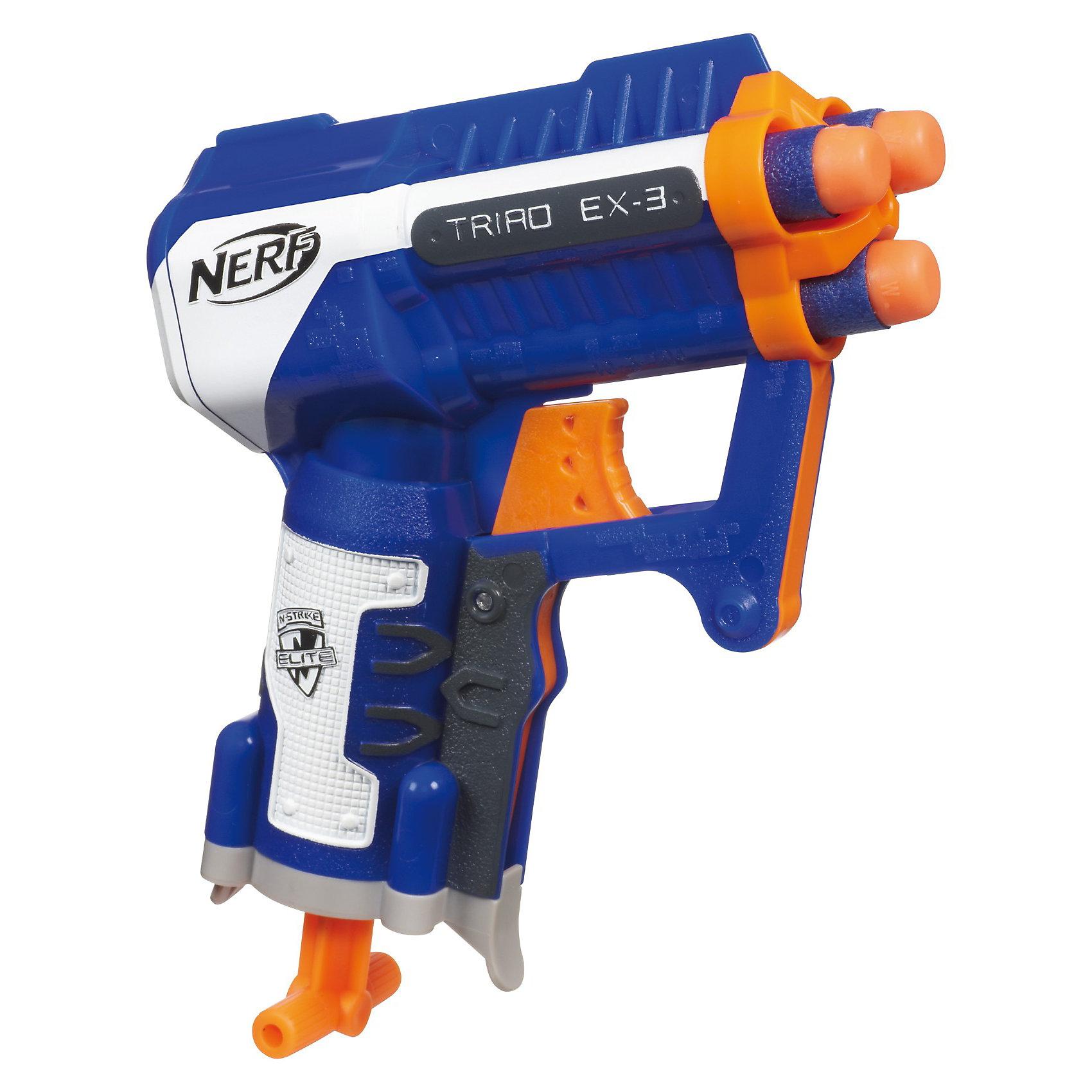 Бластер Элит Триад, NERFИгрушечное оружие<br>Бластер Элит Триад от Nerf - компактный и мощный бластер, который стреляет сразу тремя стрелами. Вставьте в бластер стрелы и Вы уже готовы к битве. <br>Новый бластер Элит Триад может стрелять на расстояние до 20 -ти метров!<br><br>Подарите своему ребенку множество спортивно-азартных часов!<br><br>Дополнительная информация:<br>- В комплекте бластер, 3 стрелы и инструкция. <br>- Размер: 171*187*54 мм.<br><br>Бластер Элит Триад, Nerf можно купить в нашем интернет - магазине.<br><br>Ширина мм: 54<br>Глубина мм: 171<br>Высота мм: 187<br>Вес г: 520<br>Возраст от месяцев: 96<br>Возраст до месяцев: 168<br>Пол: Мужской<br>Возраст: Детский<br>SKU: 3295473