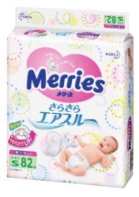 Подгузники для детей Merries, S 4-8 кг, 82 шт.