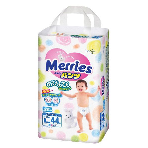 Трусики-подгузники для детей Merries, L 9-14 кг, 44 шт.Трусики-подгузники<br>Подгузники-трусики Merries предназначены для малышей, которые весят от 9 до 14 кг.<br>В дополнение к эффекту «дышащей» поверхности трусиков испарения уходят вверх через «воздушные каналы» на поясе. <br><br>Дополнительная информация:<br><br>- практически по всей поверхности подгузников-трусиков расположена удивительно мягкая пунктирная резинка, не дающая трусикам сползти даже при активном движении малыша <br>- впитывающая вкладка с поднимающимися барьерами даёт ребёнку ощущение комфорта и не позволяет трусикам протекать <br>- две центральные полоски индикатора, окрашиваясь в синий цвет, показывают, что трусики пора сменить<br>- приятный дизайн поверхности (6 видов рисунка. В одной упаковке два вида рисунка.)<br>- размер: L, для малышей от 9 до 14 кг.<br>- в упаковке: 44 шт.<br><br>Мягкие дышащие трусики-подгузники Merries позаботятся о Вашем малыше!<br><br>Трусики-подгузники для детей Merries, L 9-14 кг, 44 шт. можно купить в нашем магазине.<br>Ширина мм: 283; Глубина мм: 528; Высота мм: 408; Вес г: 1767; Возраст от месяцев: 6; Возраст до месяцев: 24; Пол: Унисекс; Возраст: Детский; SKU: 3295614;