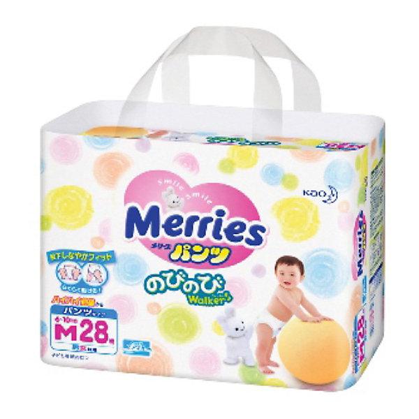 Трусики-подгузники для детей Merries, M 6-10 кг, 28 шт.Трусики-подгузники<br>Подгузники-трусики Merries предназначены для малышей, которые начали ползать, а тем более ходить.<br><br>В дополнение к эффекту «дышащей» поверхности трусиков испарения уходят вверх через «воздушные каналы» на поясе. <br><br>Дополнительная информация:<br><br>• практически по всей поверхности подгузников-трусиков расположена удивительно мягкая пунктирная резинка, не дающая трусикам сползти даже при активном движении малыша <br>• впитывающая вкладка с поднимающимися барьерами даёт ребёнку ощущение комфорта и не позволяет трусикам протекать <br>• две центральные полоски индикатора, окрашиваясь в синий цвет, показывают, что трусики пора сменить<br>• приятный дизайн поверхности (6 видов рисунка. В одной упаковке два вида рисунка.)<br><br>Размер: M, для малышей от 6 до 10 кг.<br>В упаковке: 28 шт.<br><br>Мягкие дышащие трусики-подгузники Merries позаботятся о Вашем малыше!<br><br>Ширина мм: 323<br>Глубина мм: 498<br>Высота мм: 411<br>Вес г: 1012<br>Возраст от месяцев: 0<br>Возраст до месяцев: 12<br>Пол: Унисекс<br>Возраст: Детский<br>SKU: 3295622